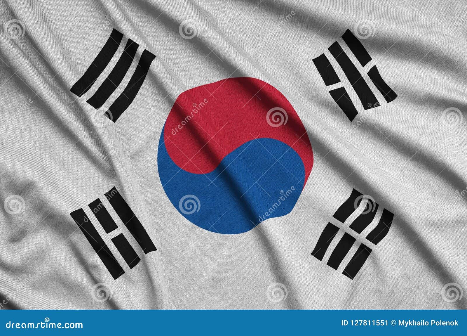 Η σημαία της Νότιας Κορέας απεικονίζεται σε ένα ύφασμα αθλητικών υφασμάτων με πολλές πτυχές Έμβλημα αθλητικών ομάδων