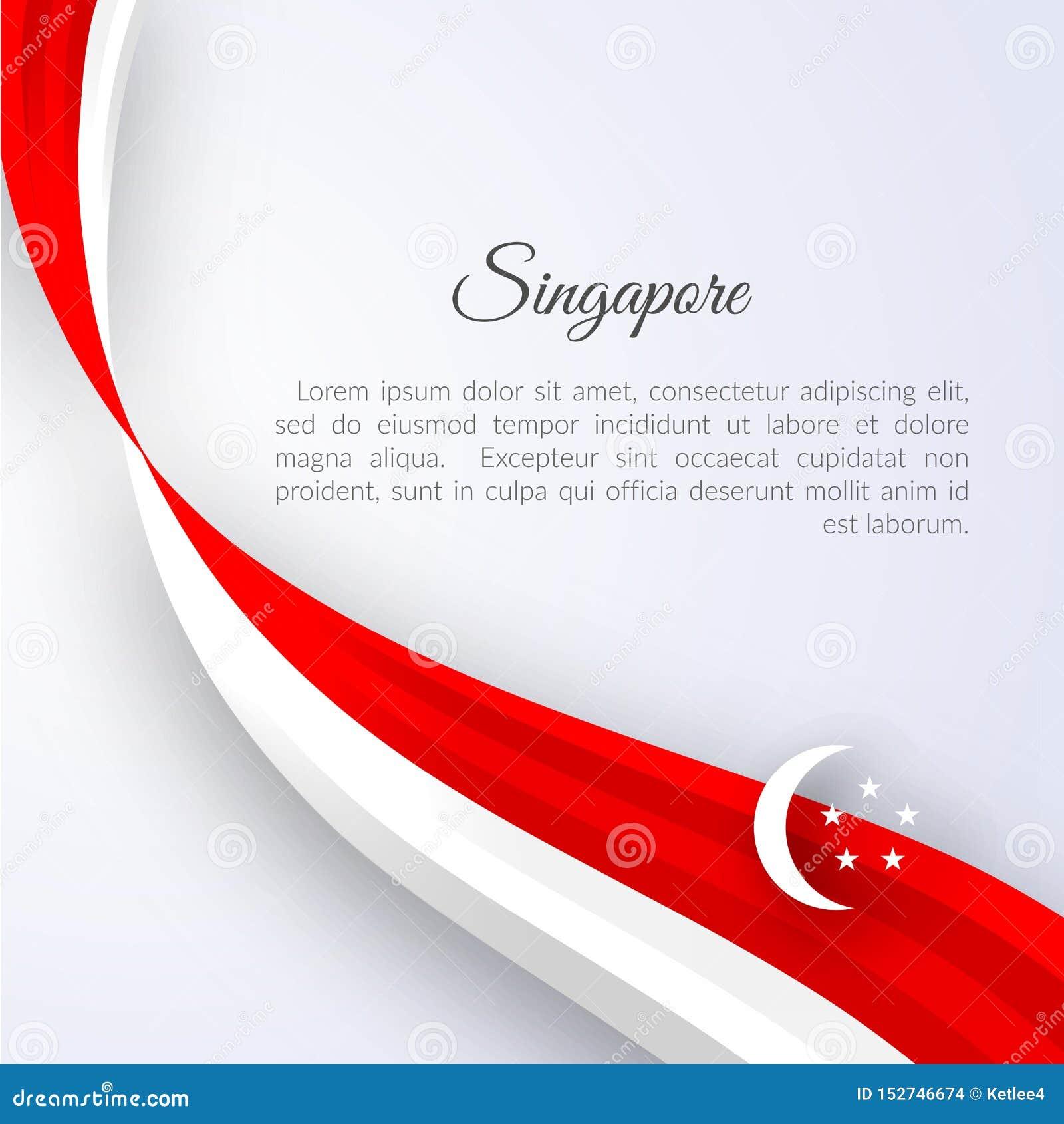 Η σημαία της Σιγκαπούρης εμβλημάτων σε ένα ελαφρύ υπόβαθρο έκαμψε τις κόκκινες άσπρες γραμμές κορδελλών με το πατριωτικό υπόβαθρο