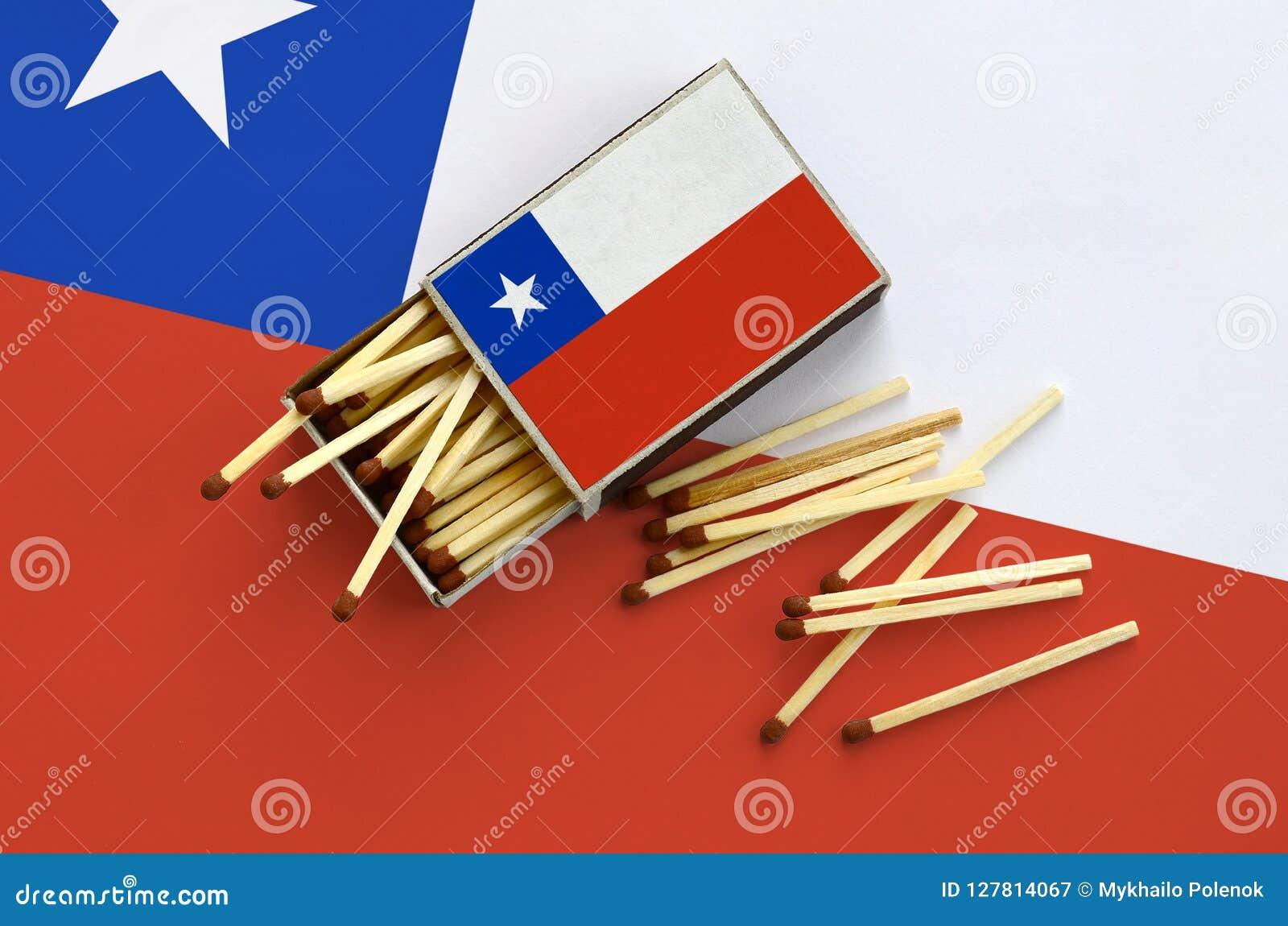 Η σημαία της Χιλής παρουσιάζεται σε ένα ανοικτό σπιρτόκουτο, από το οποίο διάφορες αντιστοιχίες αφορούν και βρίσκονται μια μεγάλη