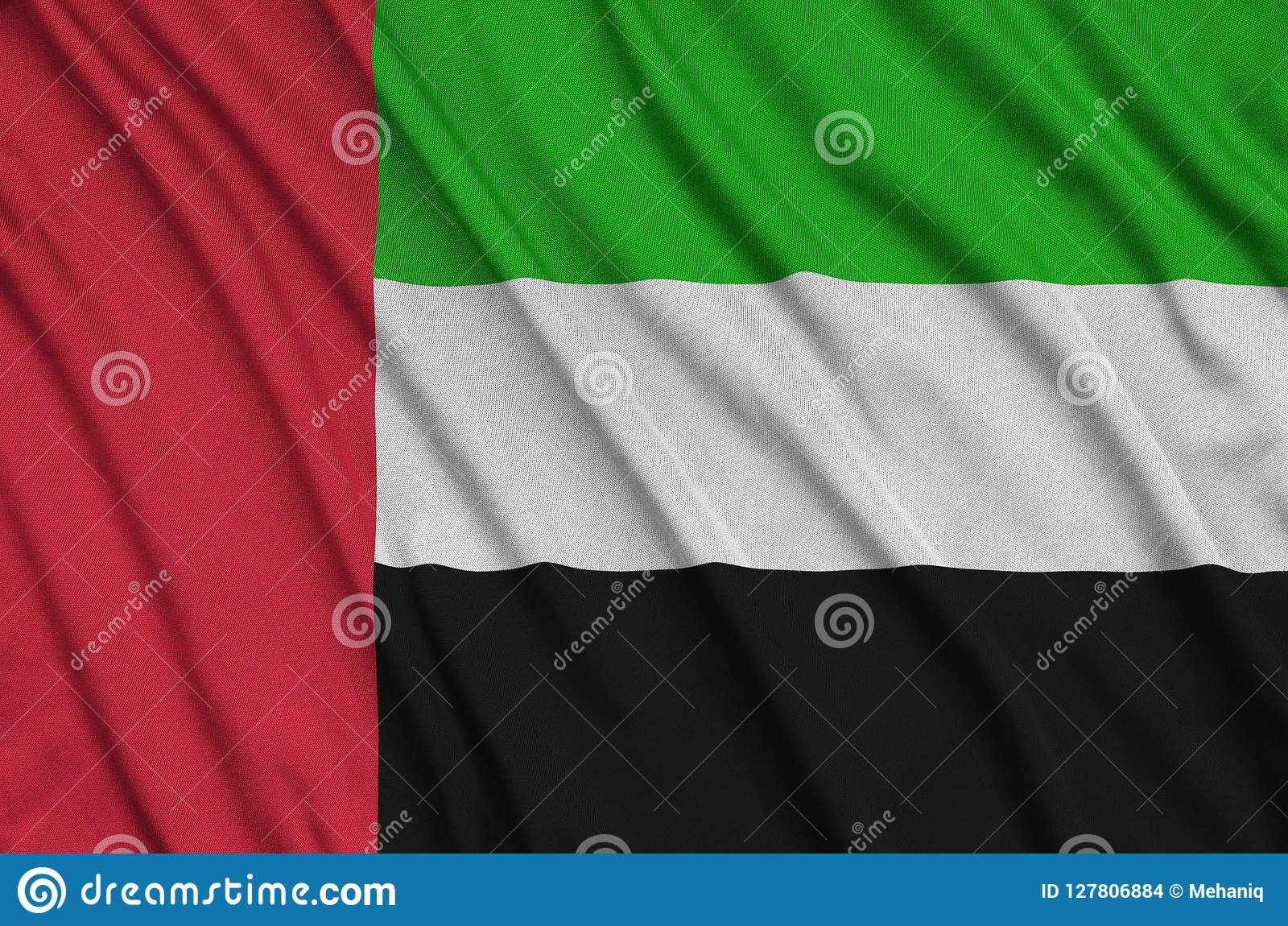 Η σημαία των Ηνωμένων Αραβικών Εμιράτων απεικονίζεται σε ένα ύφασμα αθλητικών υφασμάτων με πολλές πτυχές Έμβλημα αθλητικών ομάδων