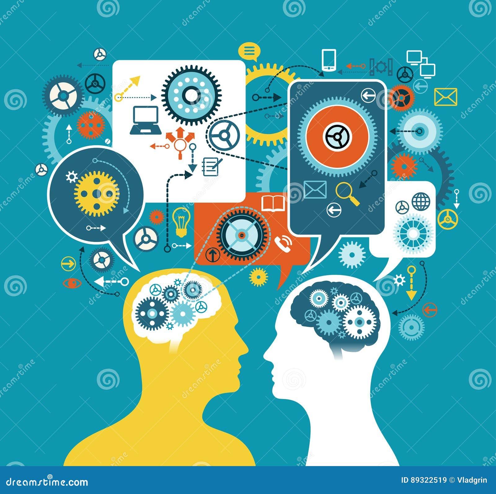 Η σκιαγραφία ενός κεφαλιού ατόμων ` s με την ομιλία βράζει, εργαλεία και επιχειρησιακά εικονίδια