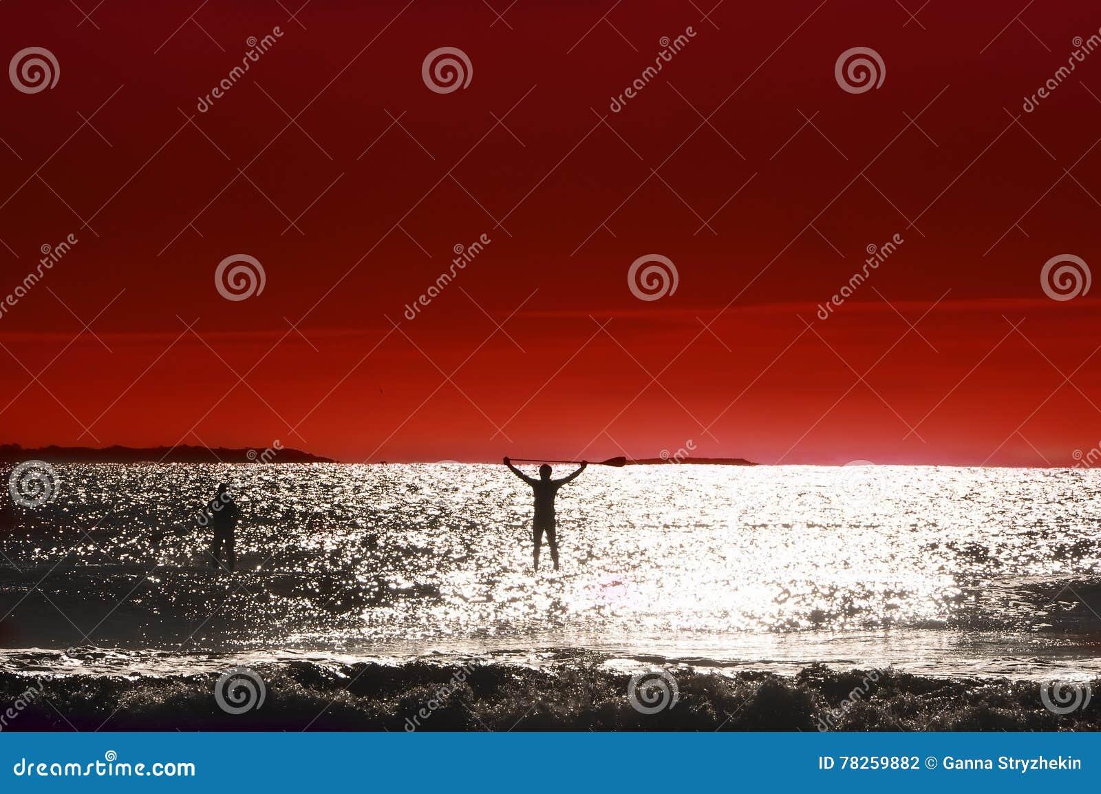 Η σκιαγραφία του ατόμου κολυμπά στον πίνακα στον ωκεανό
