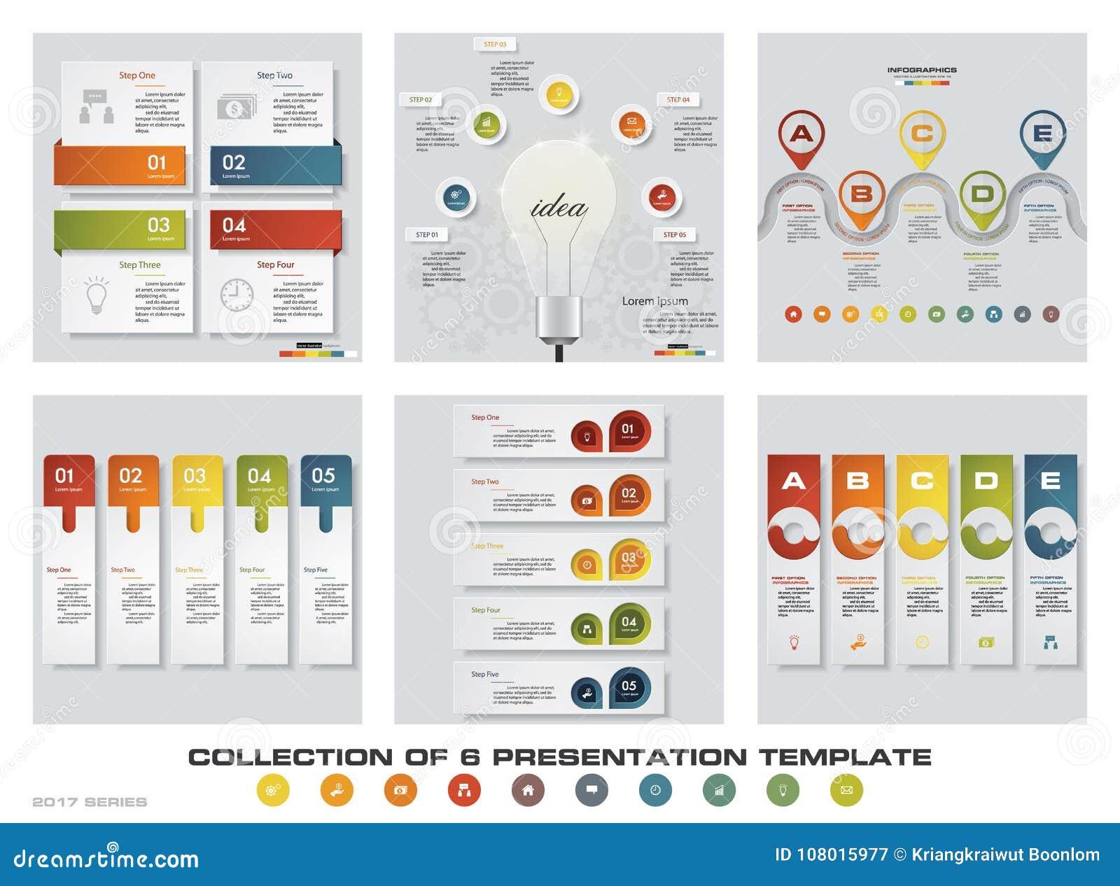 Η συλλογή 6 σχεδιάζει τα ζωηρόχρωμα πρότυπα παρουσίασης EPS10 Σύνολο εικονιδίων διανύσματος και επιχειρήσεων σχεδίου infographics