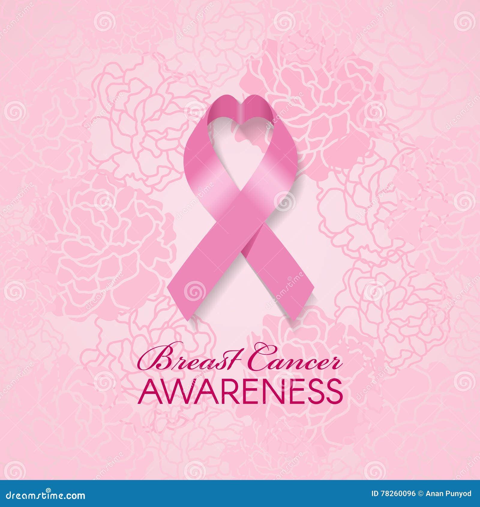 Η συνειδητοποίηση καρκίνου του μαστού με τη ρόδινη κορδέλλα καρδιών και μαλακό ρόδινο αυξήθηκε αφηρημένη διανυσματική απεικόνιση