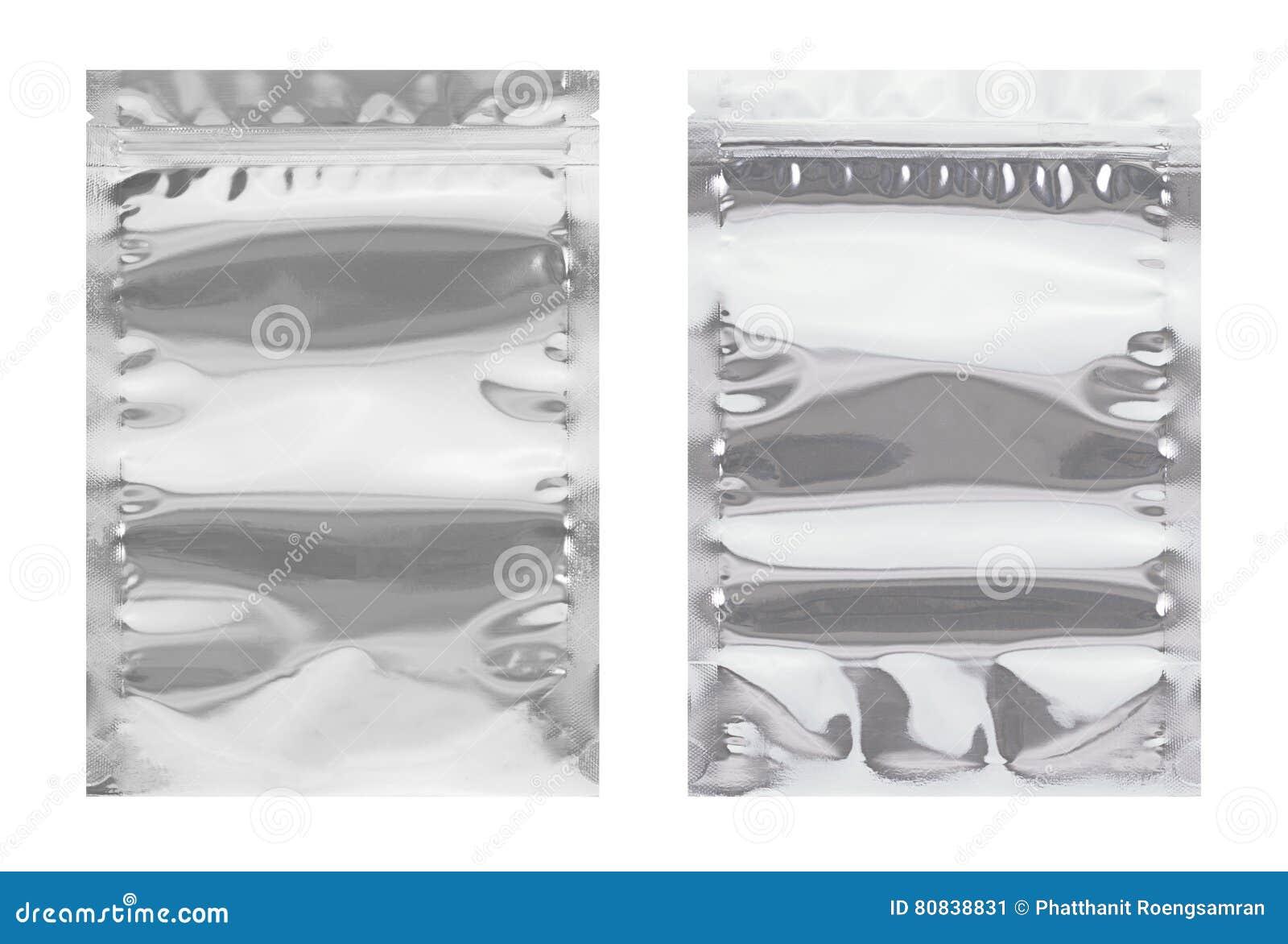 Η συσκευασία, το μέτωπο και η πλάτη τσαντών αλουμινίου απομονώνουν στο άσπρο backgrou