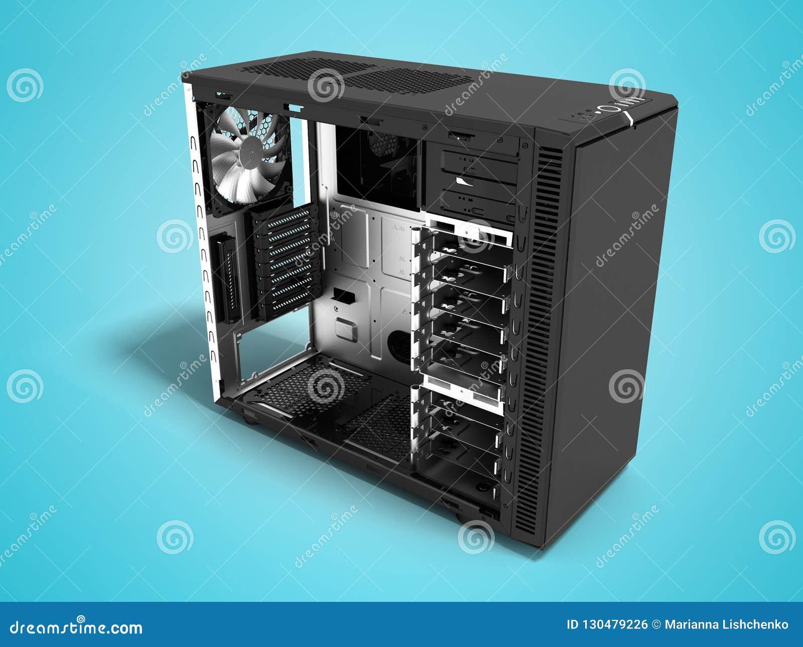 Η σύγχρονη μονάδα συστημάτων μετάλλων μαύρη κενή για τη συνέλευση υπολογιστών τρισδιάστατη δίνει στο μπλε υπόβαθρο με τη σκιά