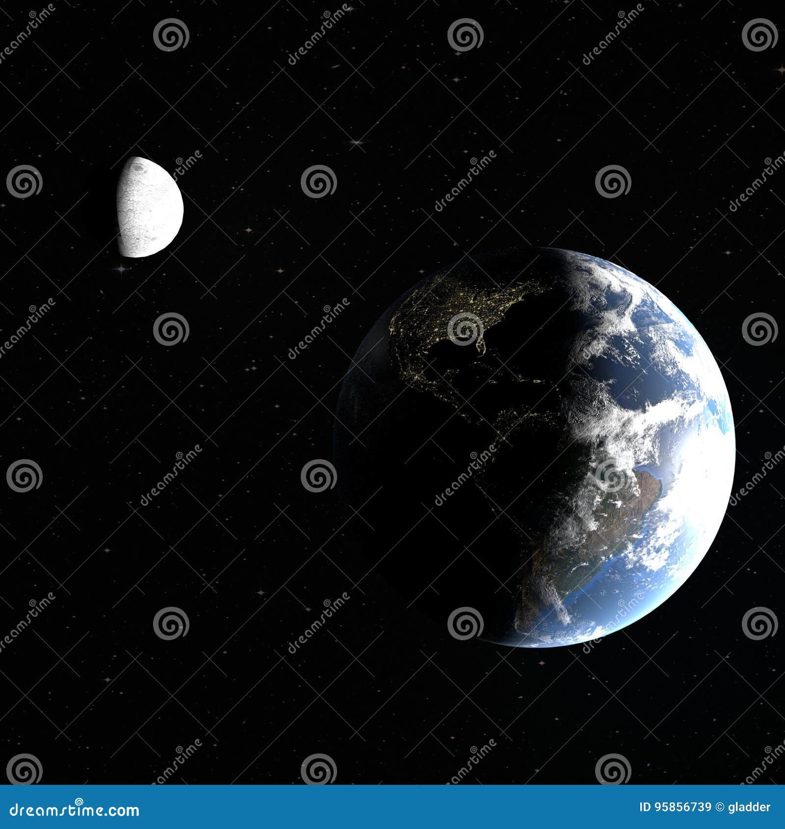 η τρισδιάστατη απόδοση του πλανήτη Γη με τις πόλεις νύχτας της Αμερικής και του φεγγαριού, που φωτίζονται μερικώς από τον ήλιο, τ