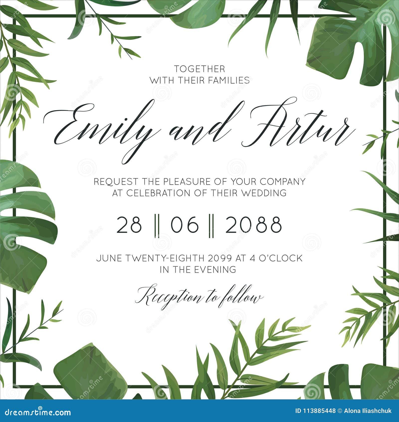 Η τροπική γαμήλια floral πρόσκληση, προσκαλεί την κάρτα Διανυσματικά watercolor πράσινα φύλλα φοινίκων ύφους εξωτικά, δασικά χορτ