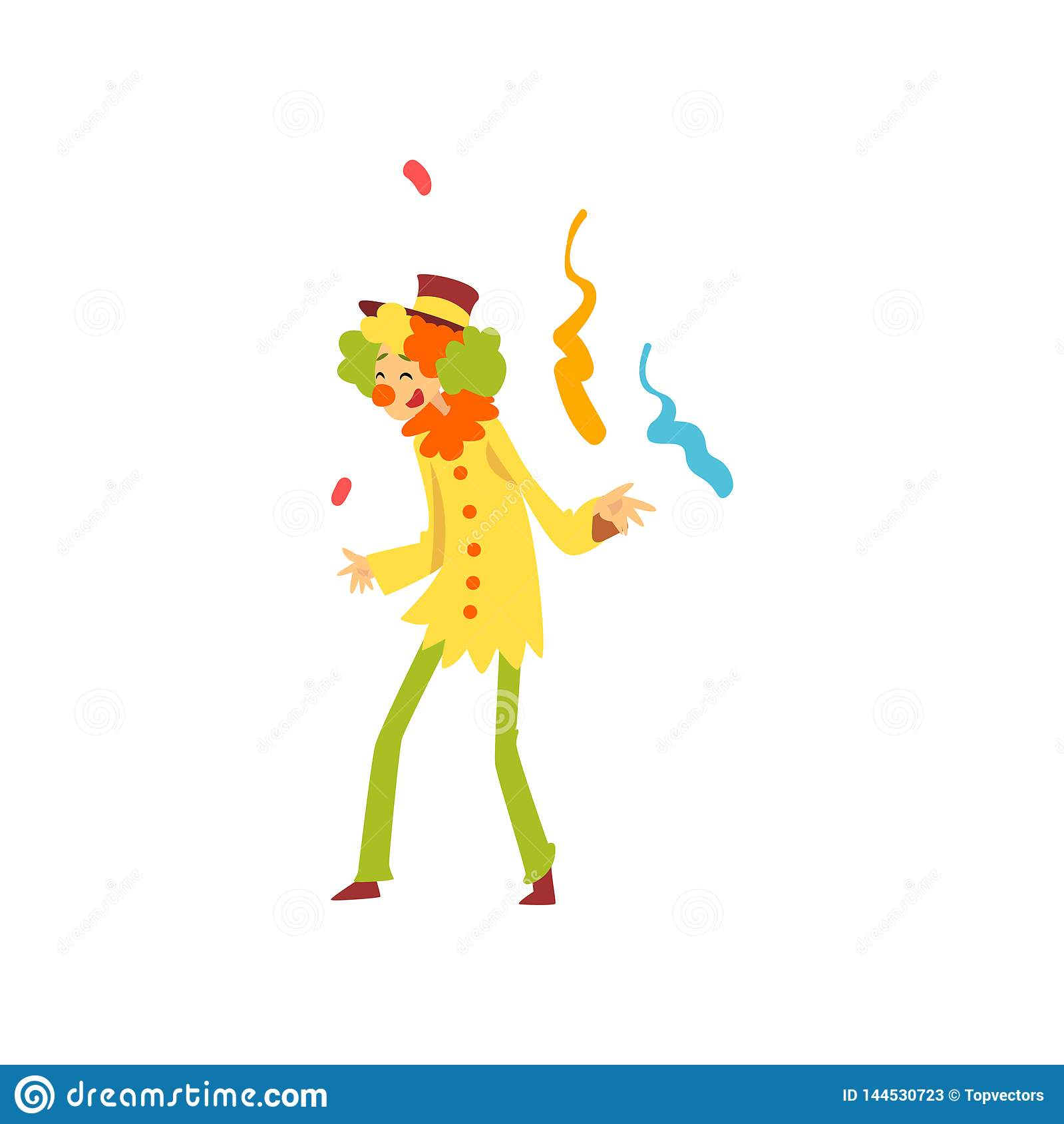 Η χαριτωμένη αστεία απόδοση κλόουν στα γενέθλια, το κόμμα καρναβαλιού ή το τσίρκο παρουσιάζουν διανυσματική απεικόνιση