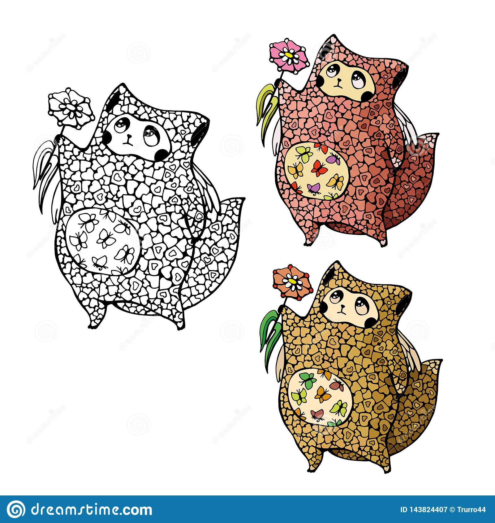 Η χαριτωμένη αυξομειούμενη γάτα με τις πεταλούδες στο στομάχι της δίνει ένα λουλούδι