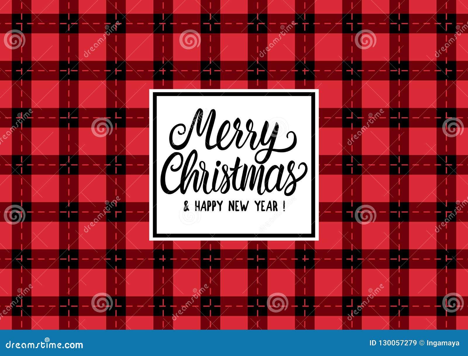 Η Χαρούμενα Χριστούγεννα δίνει τη συρμένη επιγραφή κειμένων εγγραφής Διανυσματικό ελεγμένο μαύρο και κόκκινο ευρύ υπόβαθρο απεικό