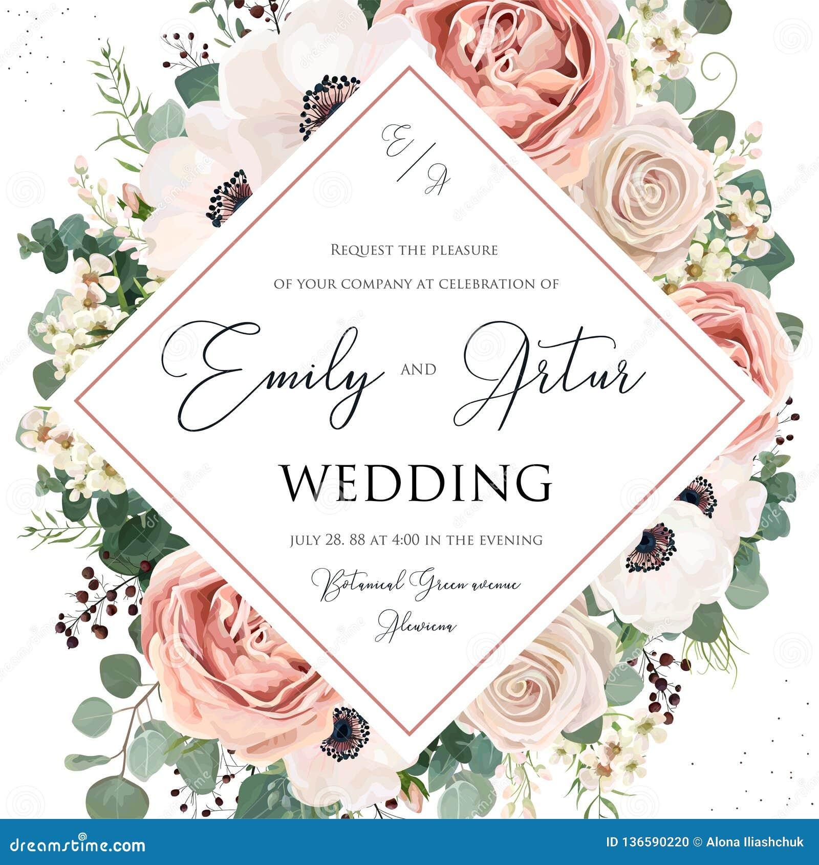Η Floral γαμήλια πρόσκληση κομψή προσκαλεί το διανυσματικό σχέδιο καρτών Το ροζ λουλουδιών κήπων, lavender αυξήθηκε, το άσπρο κερ
