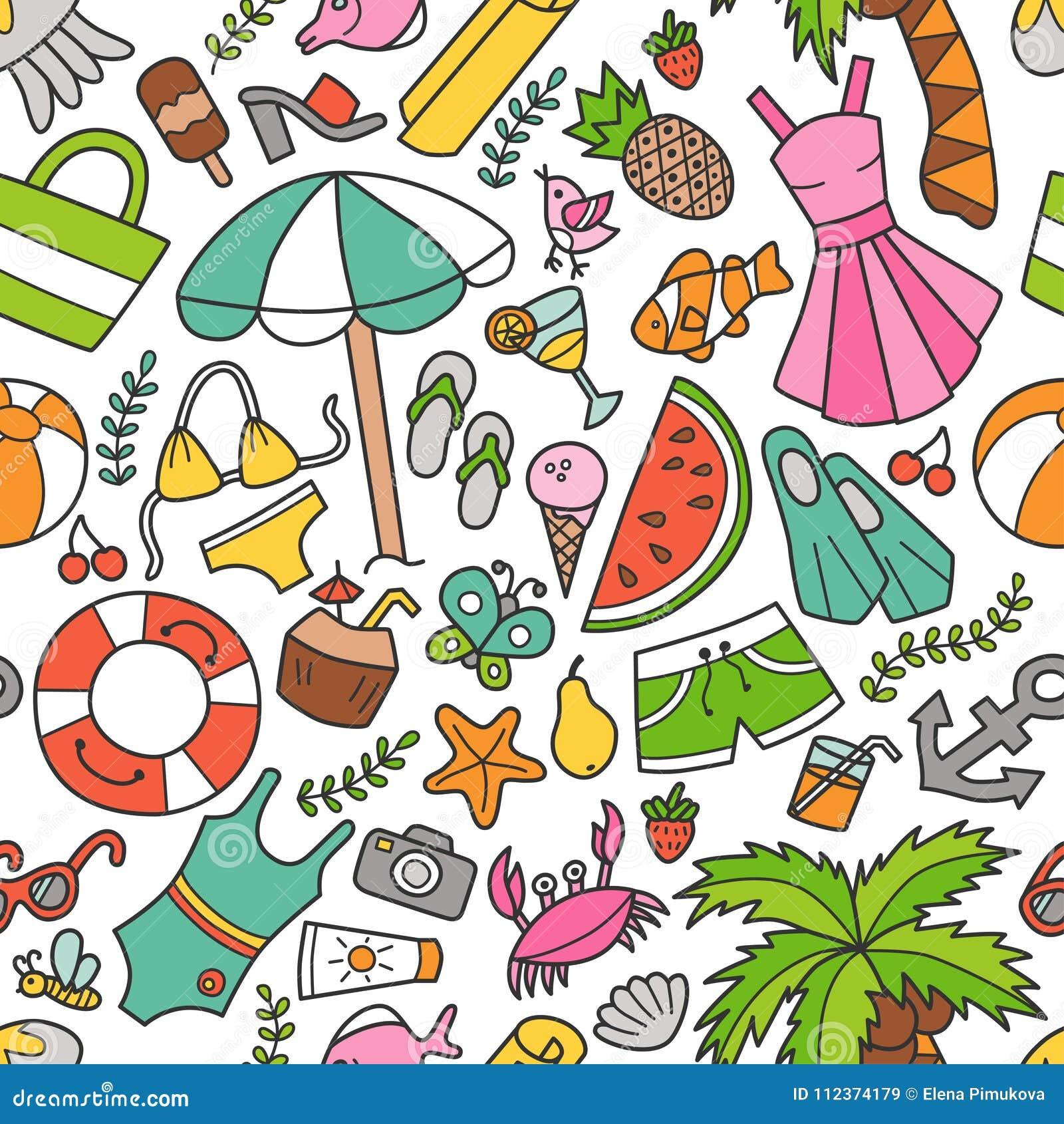 Θάλασσα και καλοκαίρι Άνευ ραφής σχέδιο στο doodle και το ύφος κινούμενων σχεδίων Χρώμα