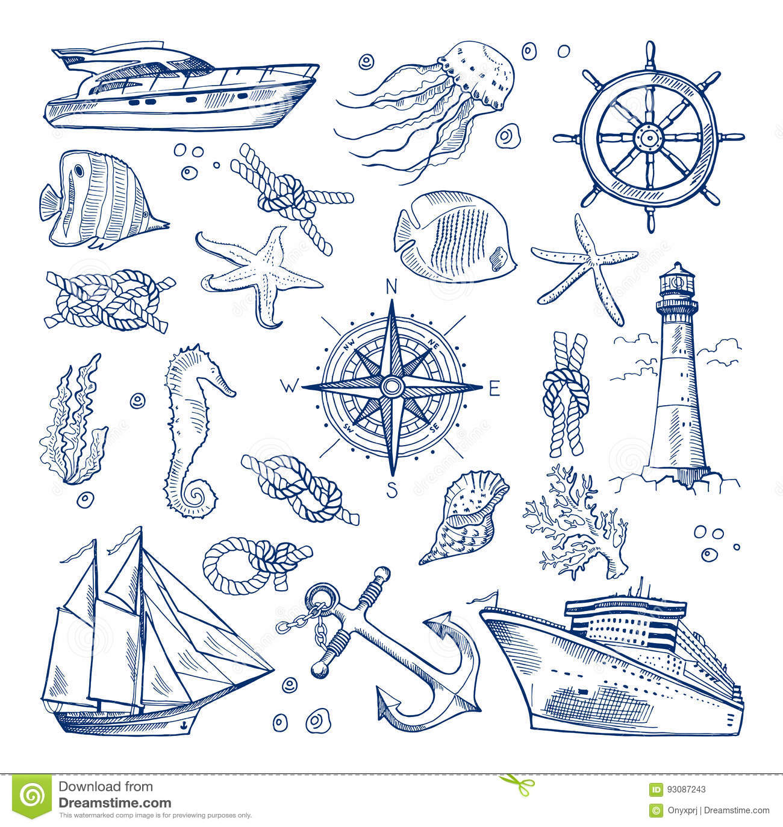 Θάλασσα ή ωκεάνια υποβρύχια ζωή με τα διαφορετικά ζώα και τα θαλάσσια αντικείμενα Διανυσματικό συμένος εικόνων υπό εξέταση ύφος