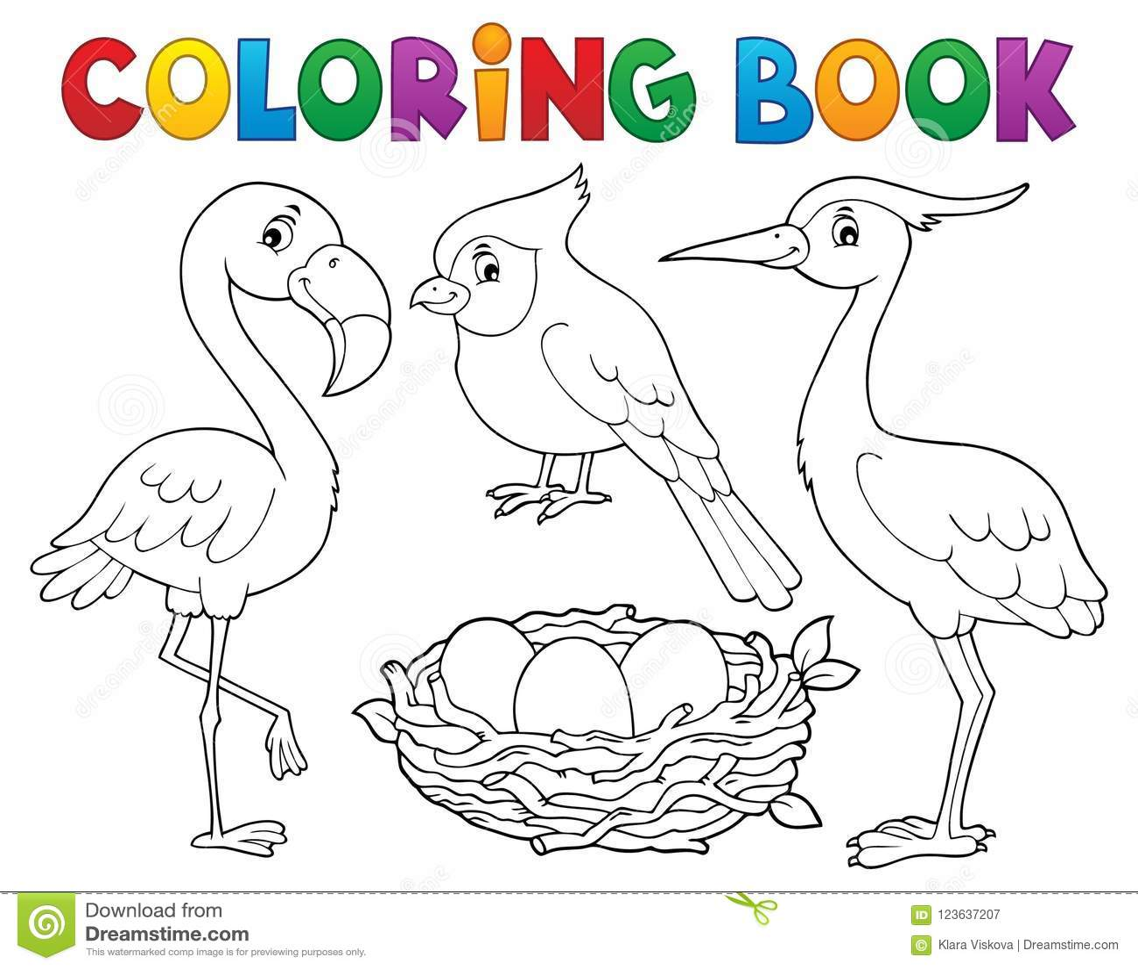 Θέμα 1 πουλιών βιβλίων χρωματισμού