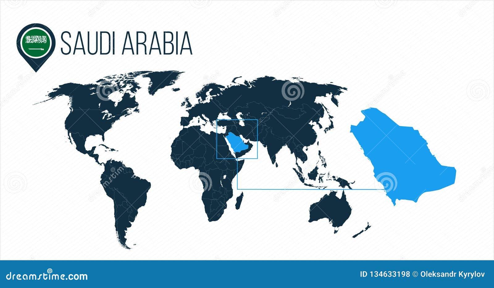 Θέση της Σαουδικής Αραβίας στον παγκόσμιο χάρτη για το infographics Όλες οι παγκόσμιες χώρες χωρίς ονόματα Σαουδική Αραβία γύρω α