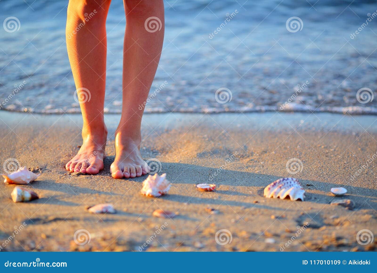 d27356e0c4 Θαλασσινά κοχύλια και πόδια γυναικών στην άμμο στην παραλία θάλασσας ...