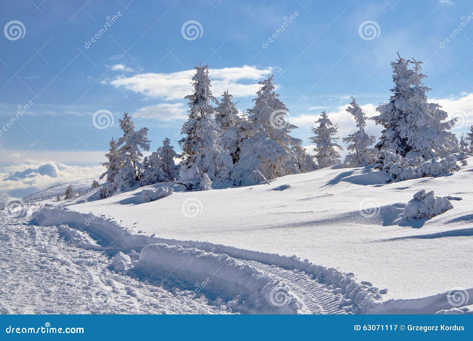 Θαμμένος στο ίχνος πεζοπορίας χιονιού