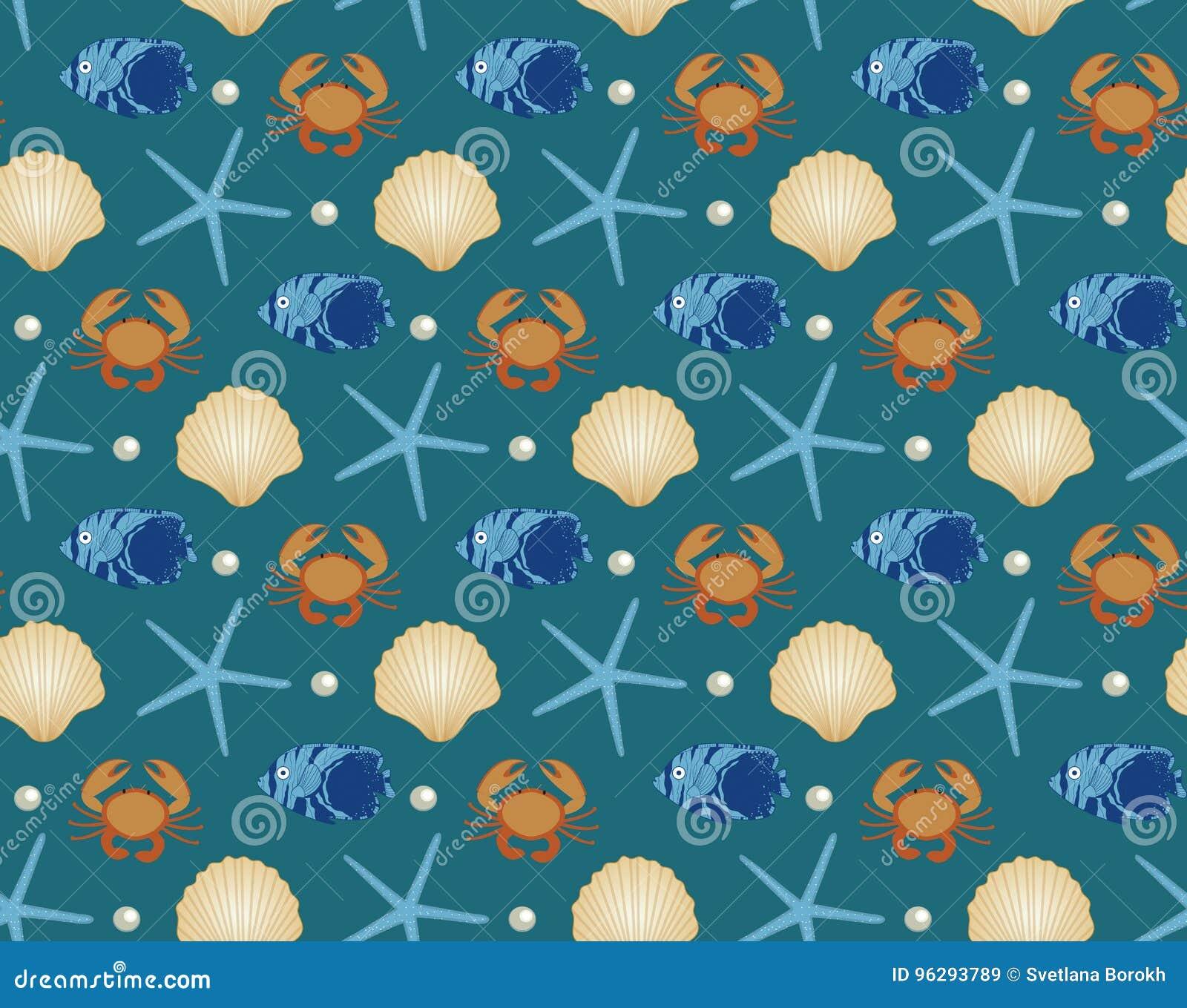 Θαλάσσιο άνευ ραφής σχέδιο, ύφος κινούμενων σχεδίων Υποβρύχιος κόσμος, άπειρο υπόβαθρο ζωής θάλασσας Αστερίας, κοχύλι, ψάρια