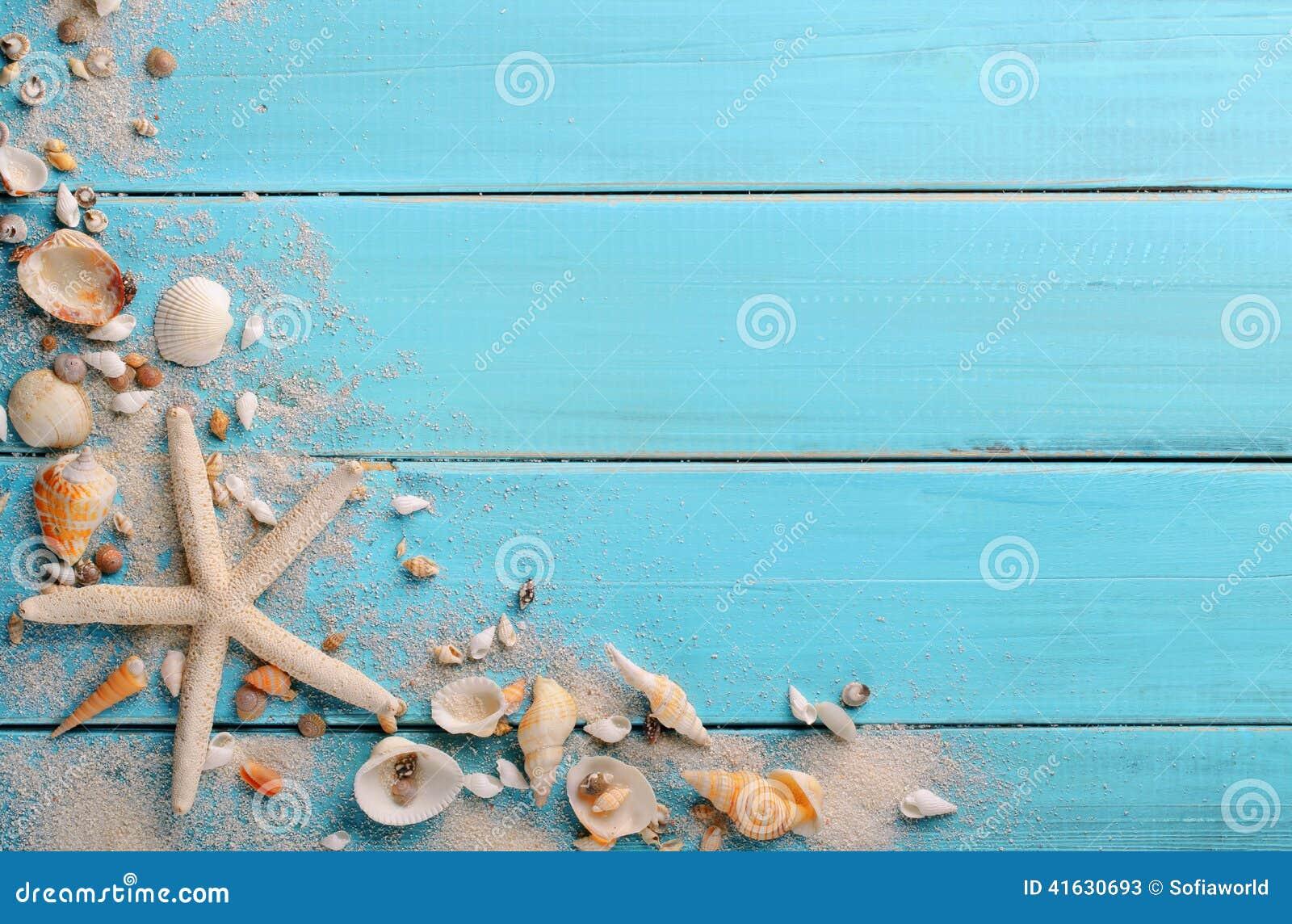 Θαλασσινά κοχύλια στο ξύλο