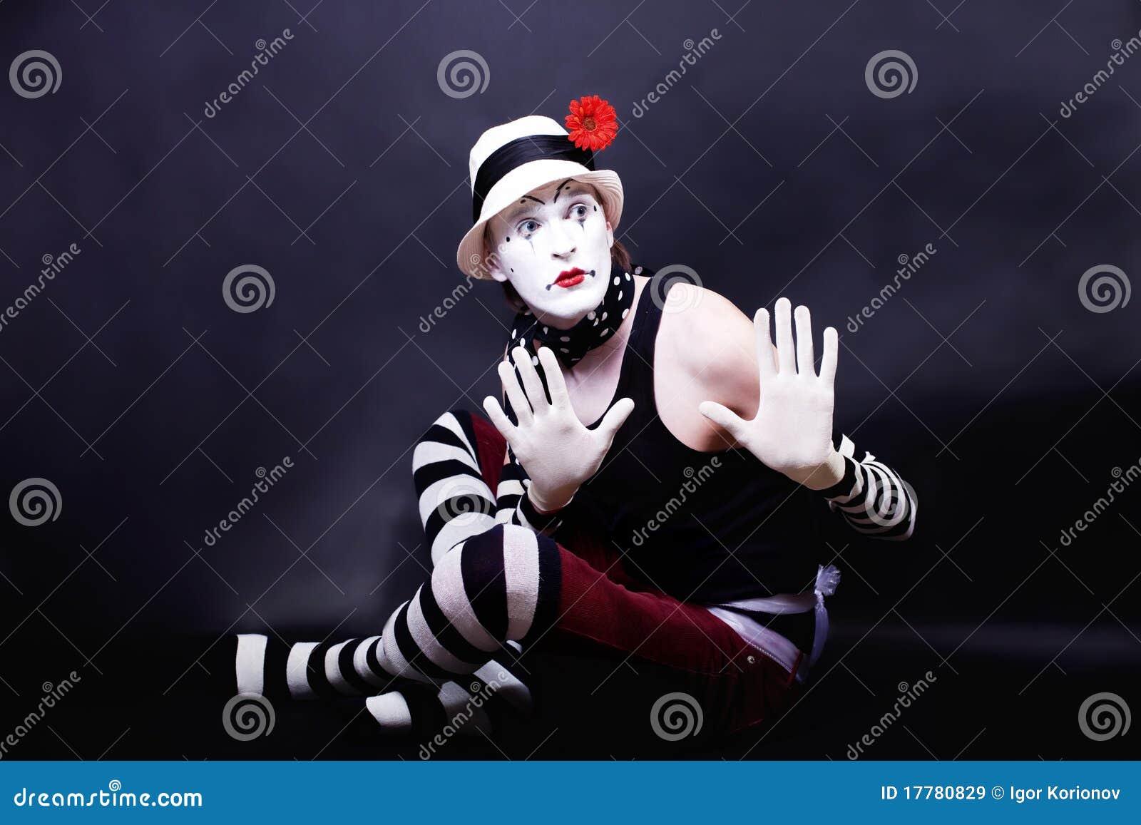 θεατρικό λευκό καπέλων mime