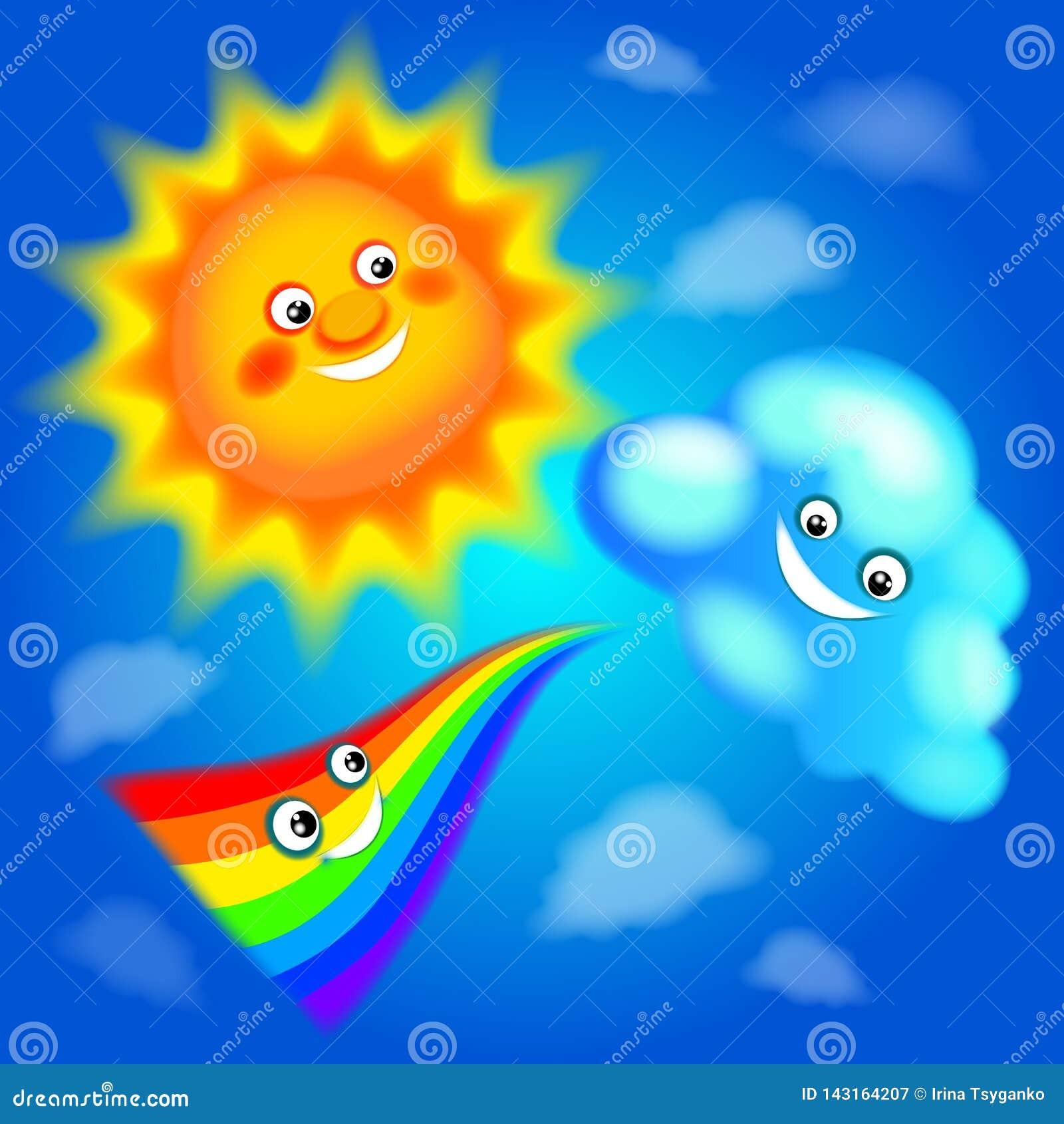 Θερινή ημέρα, ήλιος, ουράνιο τόξο, σύννεφο, καλοκαίρι, σαφής μπλε ουρανός, χαρά, ζεστασιά, ευτυχία, χαμόγελα, θετικά