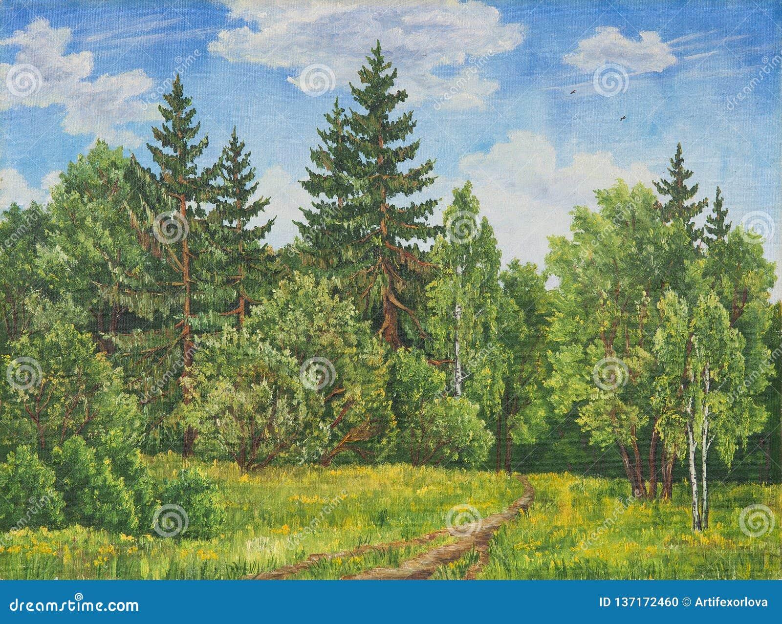 Θερινό αγροτικό τοπίο στη Ρωσία Ένας τομέας και ένα δάσος, μια υψηλή χλόη αφηρημένη αρχική ζωγραφική πετρελαίου καμβά ζωηρόχρωμη