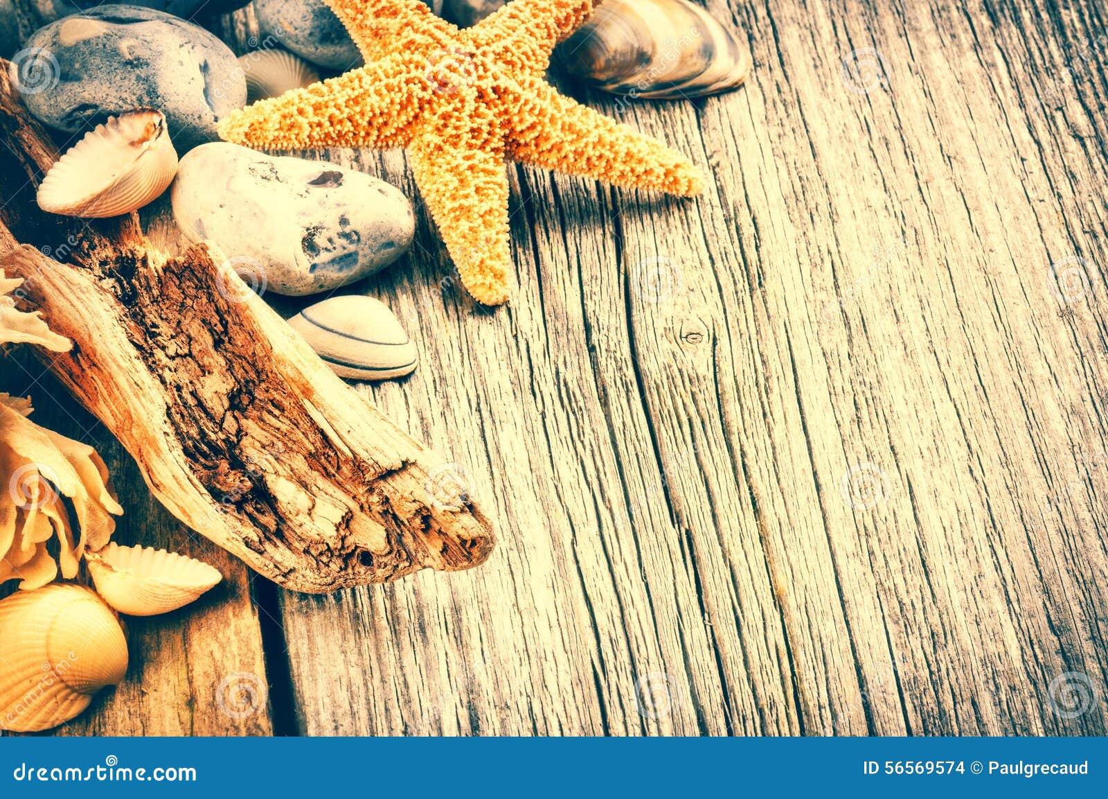 Download Θερινό υπόβαθρο με τα χαλίκια και τον αστερία Στοκ Εικόνες - εικόνα από διάστημα, διακόσμηση: 56569574