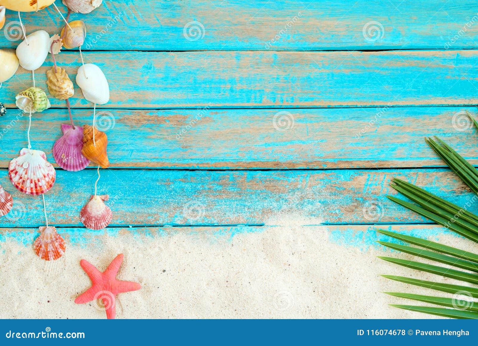 Θερινό υπόβαθρο με την άμμο παραλιών, starfishs φύλλα καρύδων και ένωση διακοσμήσεων κοχυλιών στο μπλε ξύλινο υπόβαθρο
