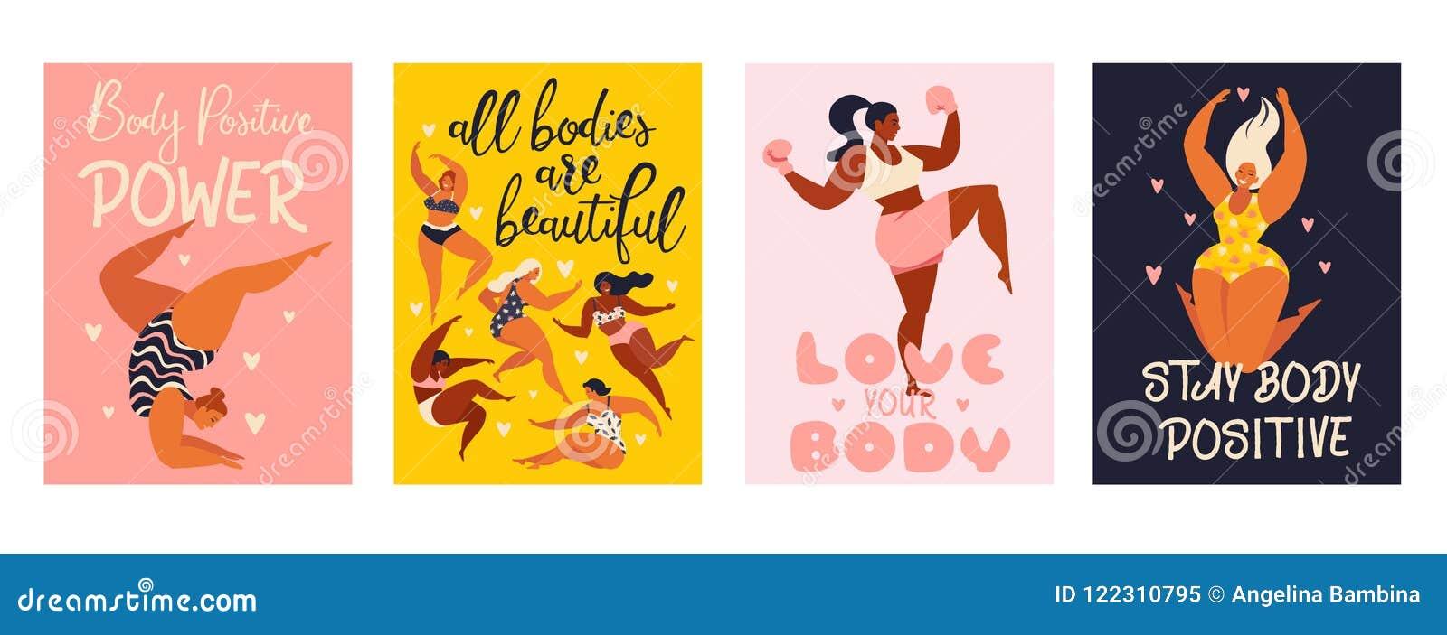 Θετικές κάθετες κάρτες σωμάτων φεμινισμού με την αγάπη για να είναι κύριος του αριθμού, θηλυκή ελευθερία, απομονωμένη δύναμη διαν