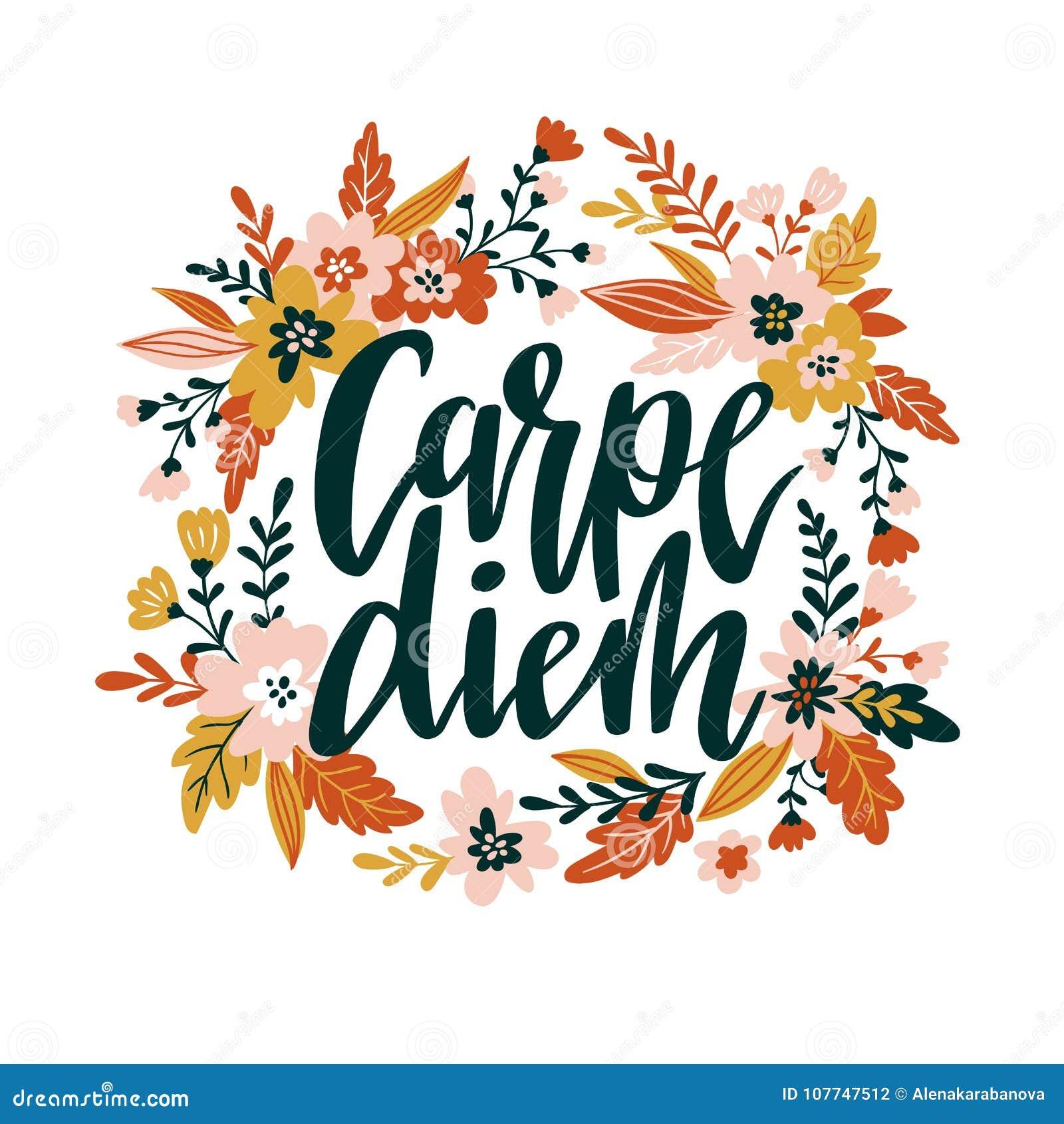 82bef033eff2 Θετικό απόσπασμα εγγραφής Carpe diem γραπτό χέρι εμπνευσμένη λατινική φράση  στο floral στεφάνι