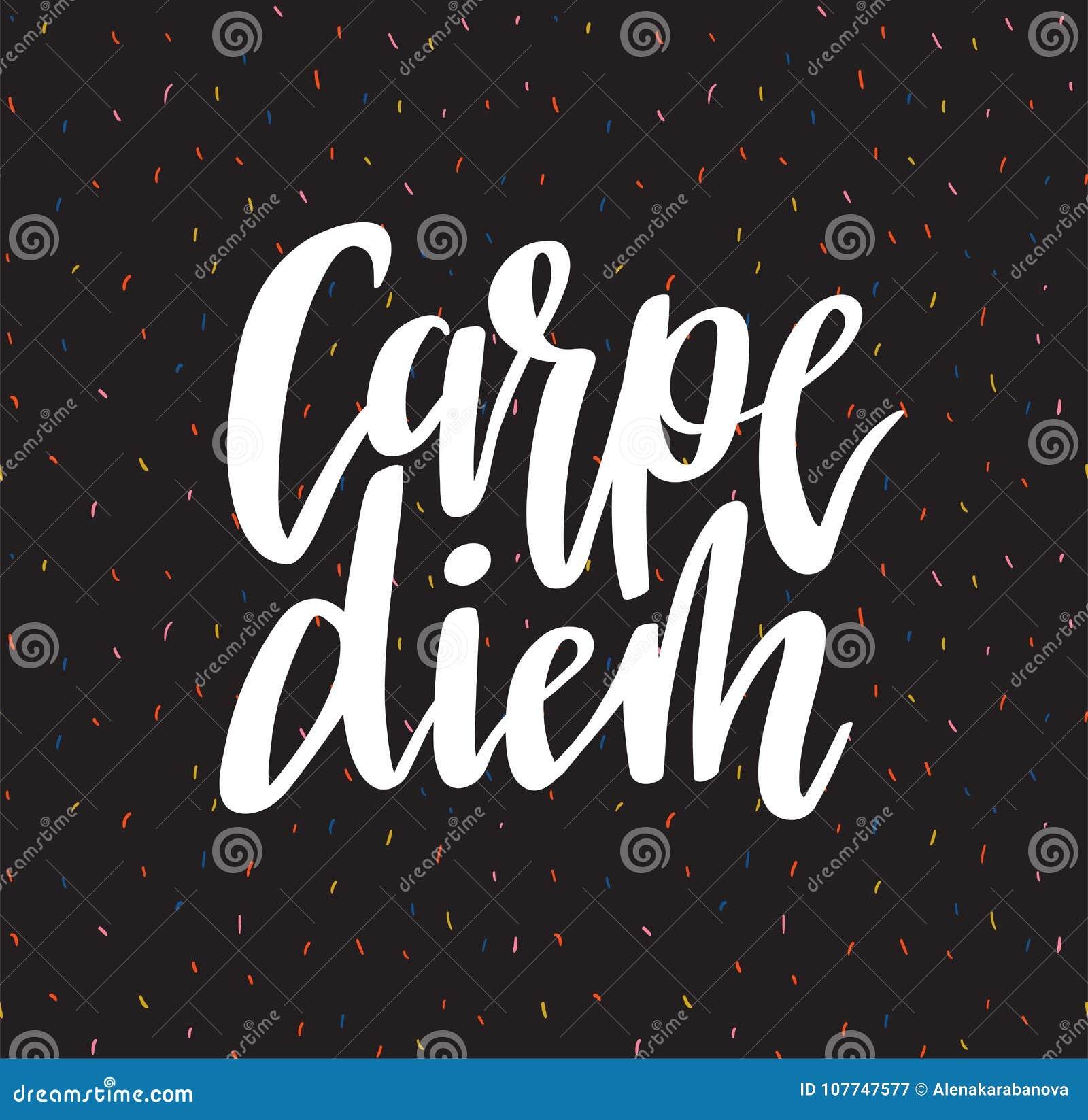 dc0040c8e031 Θετικό απόσπασμα εγγραφής Carpe diem γραπτό χέρι εμπνευσμένη λατινική φράση  στο υπόβαθρο κομφετί επίσης corel σύρετε