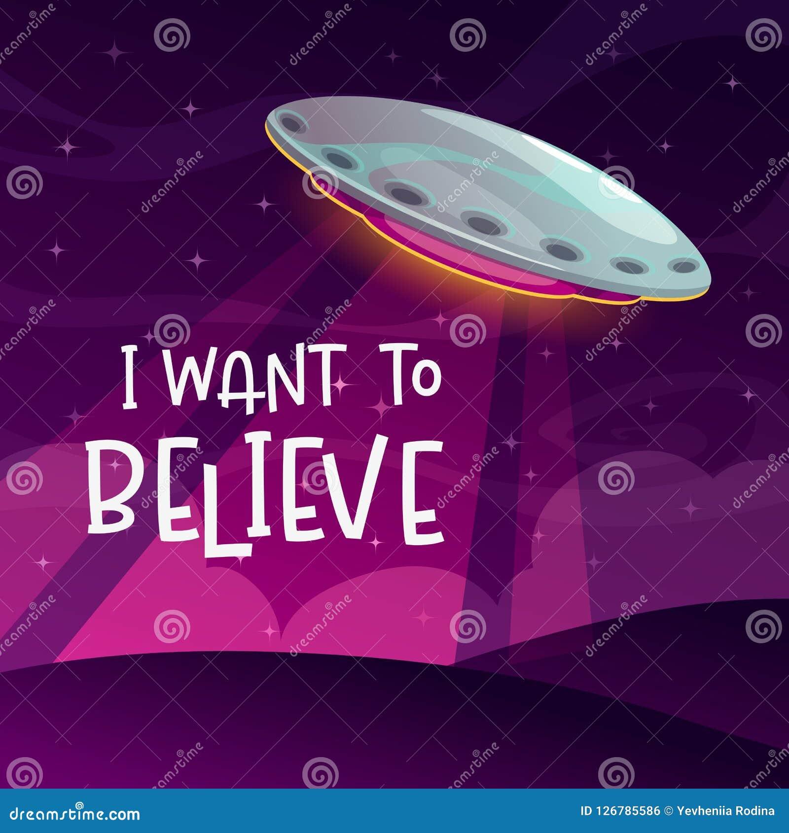 θεωρήστε το ι για να θε&lambda Κωμική αφίσα κινούμενων σχεδίων με την άφιξη διαστημοπλοίων στο υπόβαθρο νύχτας