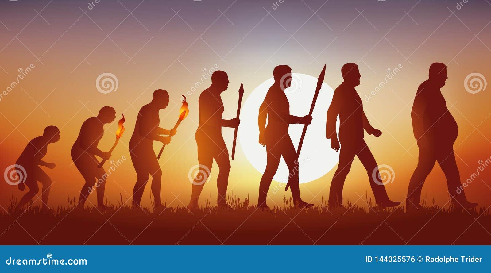 Θεωρία της εξέλιξης της ανθρώπινης σκιαγραφίας Darwin's που τελειώνει στη σκιαγραφία ενός παχύσαρκου ατόμου