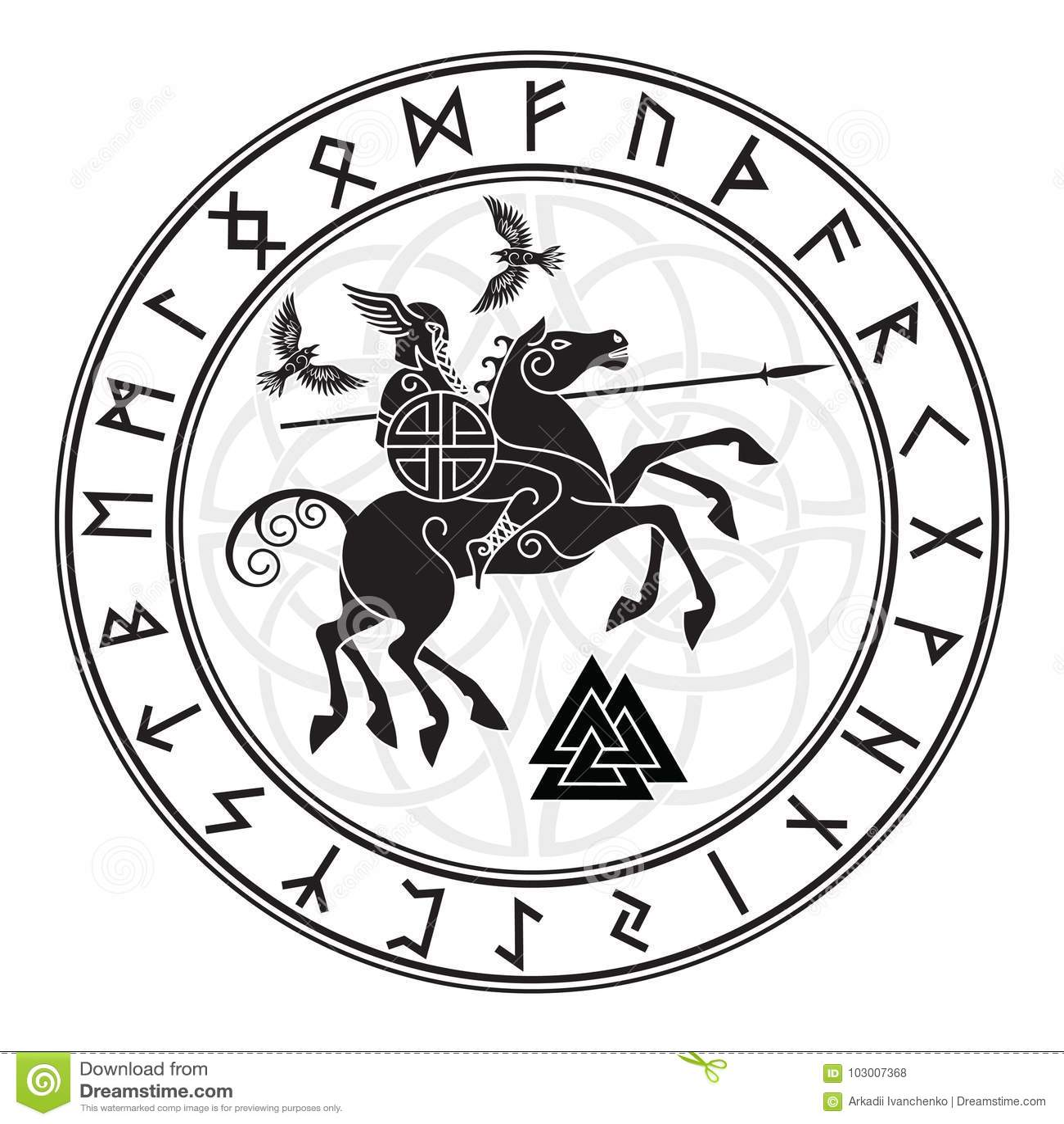 Θεός Wotan, που οδηγά σε άλογο Sleipnir με μια λόγχη και δύο κοράκια σε έναν κύκλο των ρούνων Νορβηγών Απεικόνιση των Νορβηγών