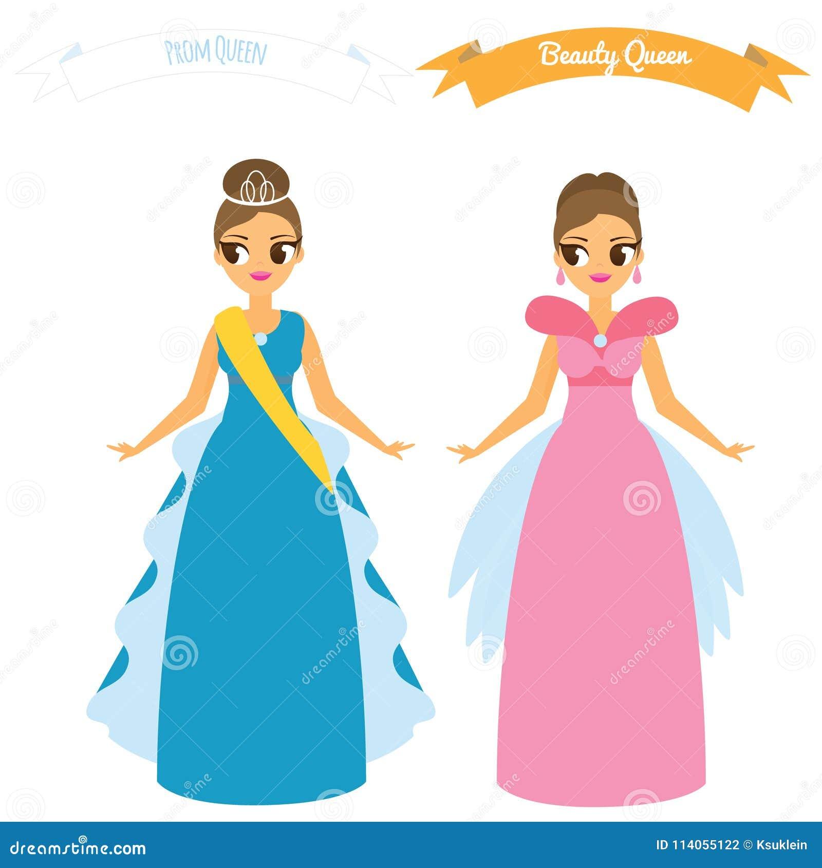 bfdca1f64adf Θηλυκά κινούμενων σχεδίων στα μακριά φορέματα κομμάτων νύχτας εσθήτων  Βασίλισσα ομορφιάς Έννοια βασίλισσας Prom