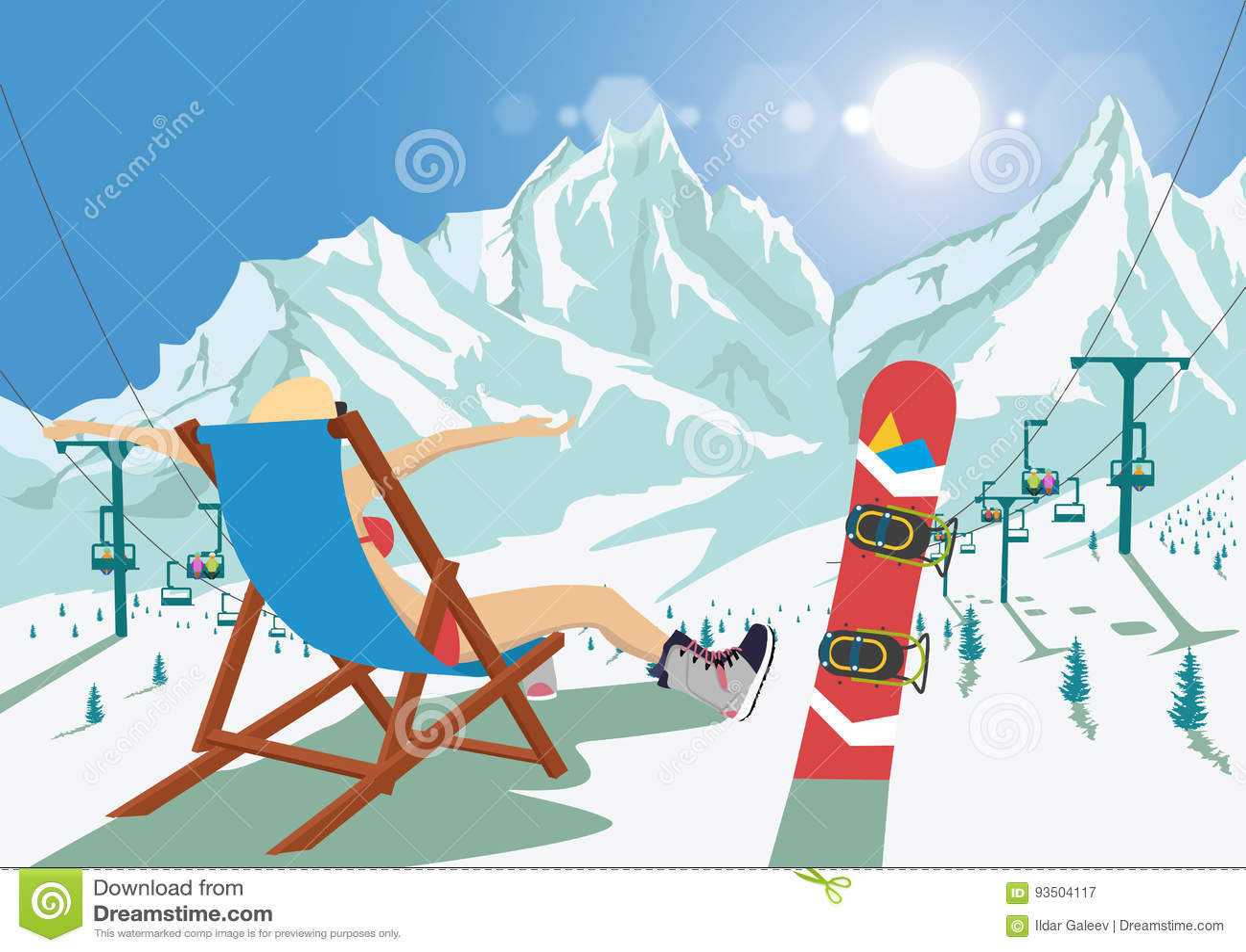 Θηλυκό snowboarder στη συνεδρίαση μπικινιών στη χαλάρωση καρεκλών γεφυρών στο χιονοδρομικό κέντρο βουνών Φωτεινός ανελκυστήρας κα