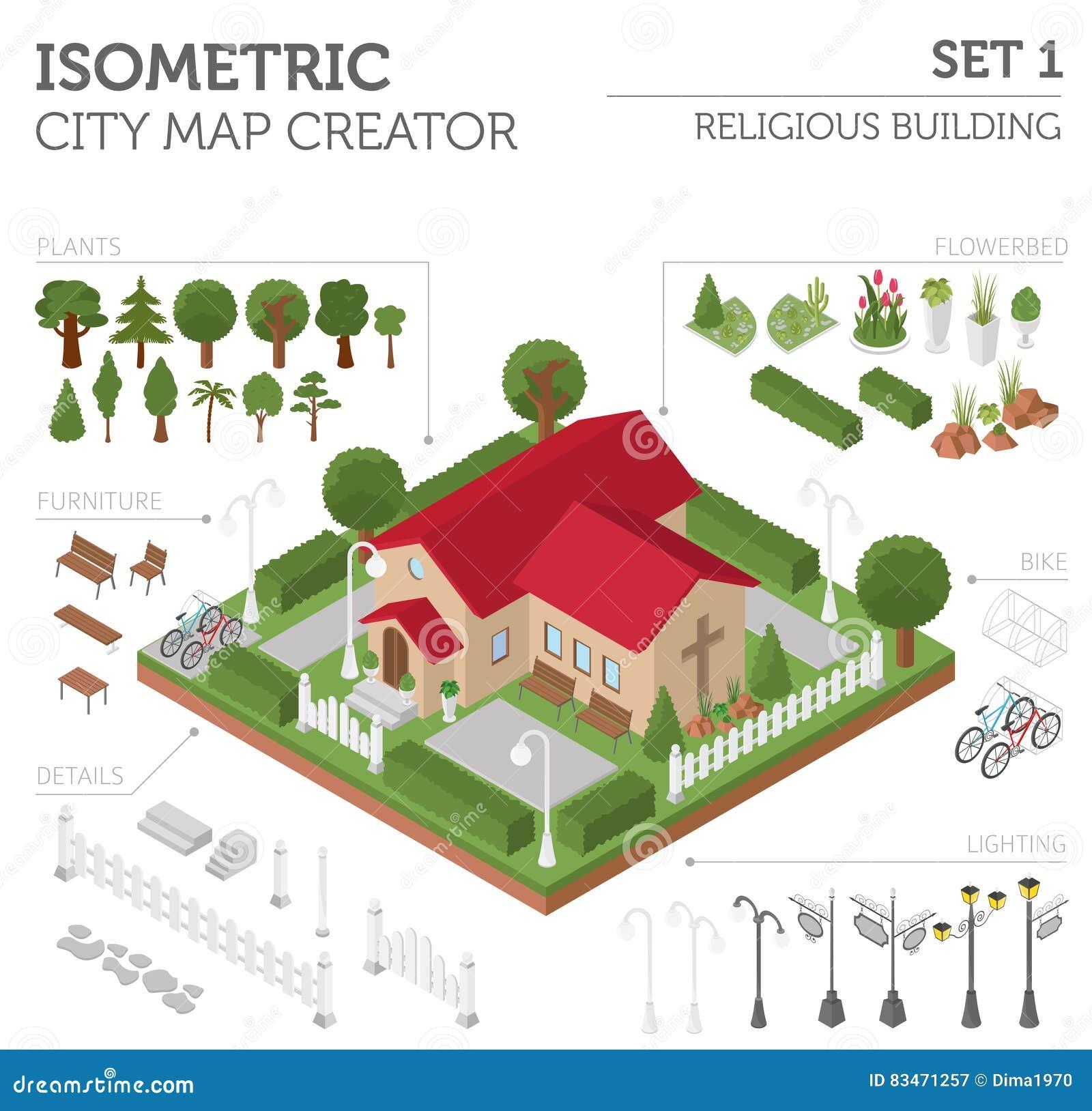 Θρησκευτική αρχιτεκτονική Επίπεδος τρισδιάστατος isometric χάρτης εκκλησιών και πόλεων