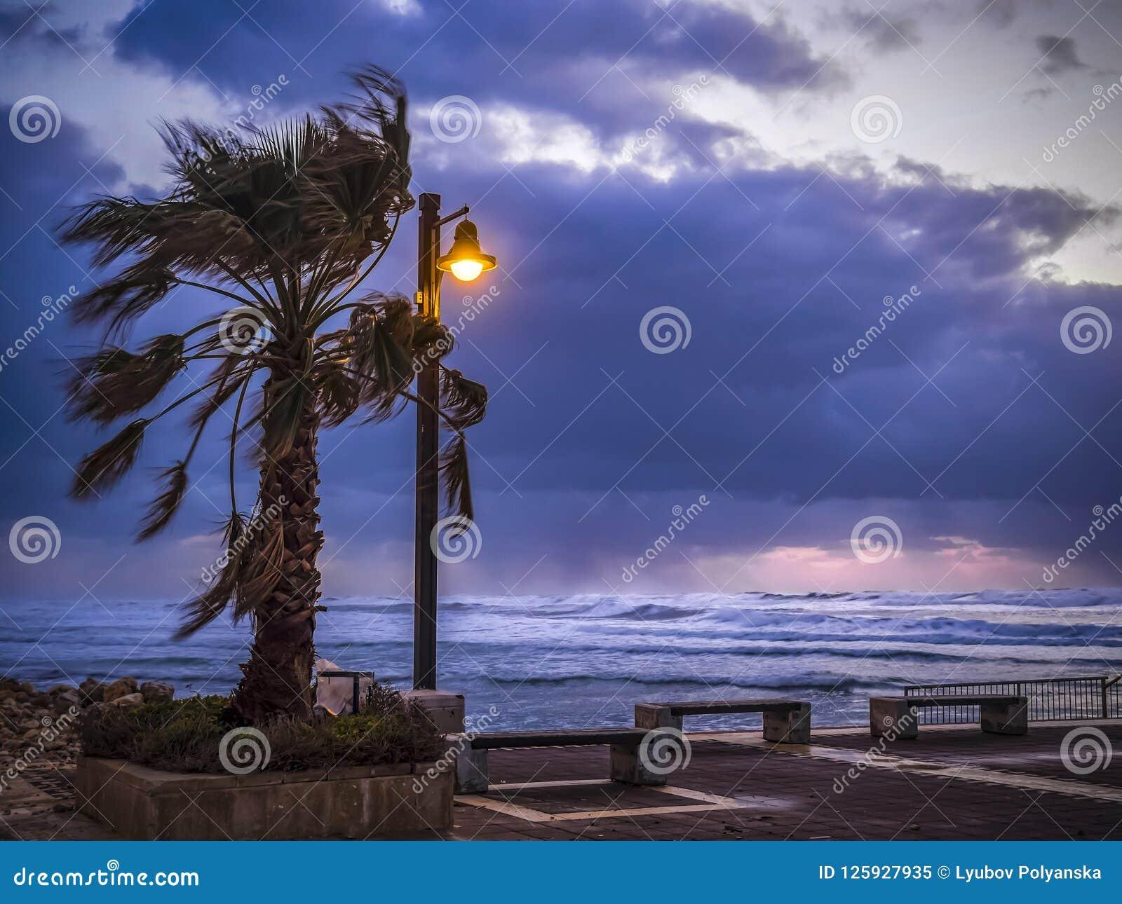 Θυελλώδης καιρός αέρα στις ακτές της Μεσογείου, λυκόφως, καίγοντας φανάρι