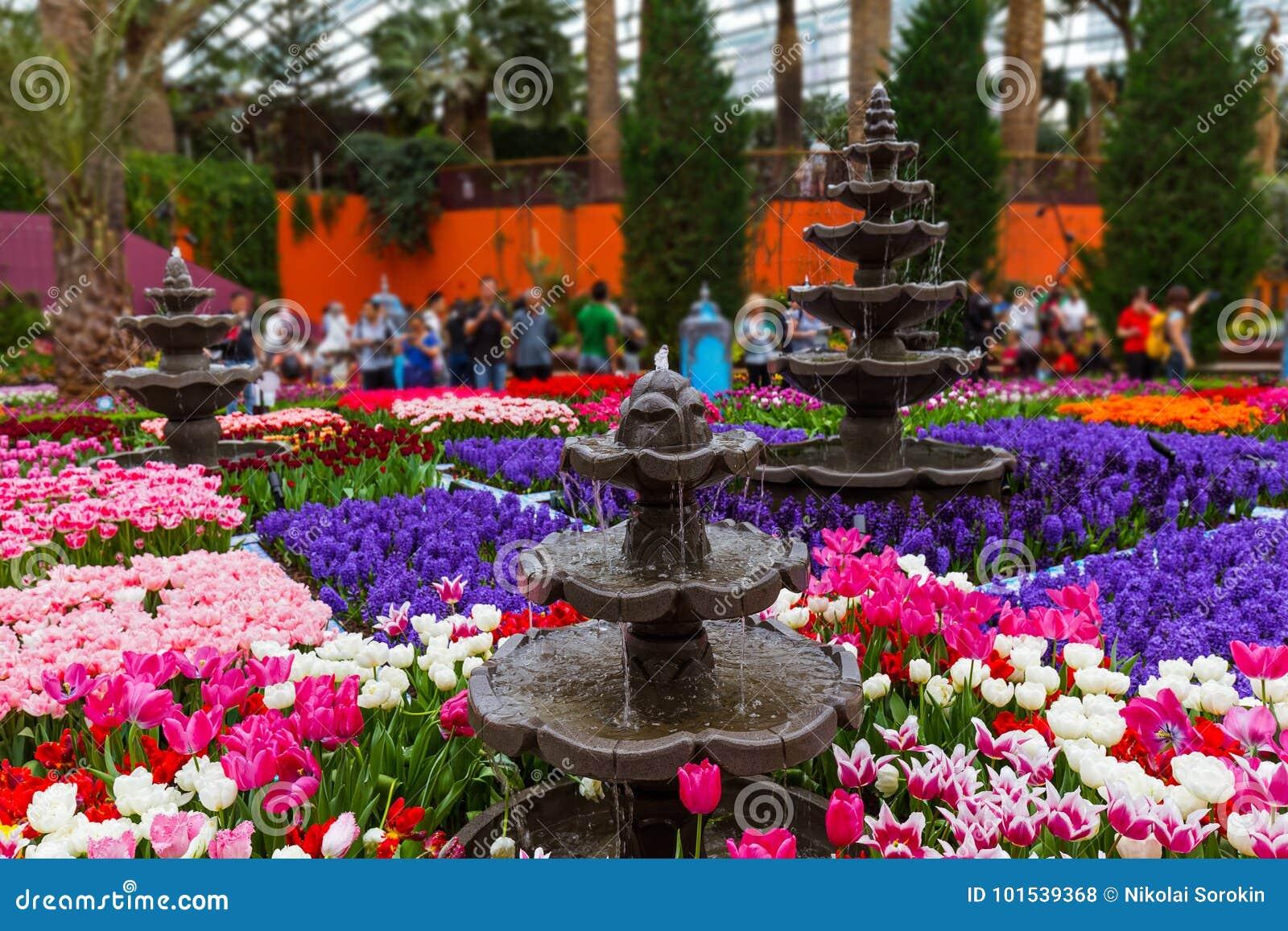 Θόλος λουλουδιών στους κήπους από τον κόλπο στη Σιγκαπούρη