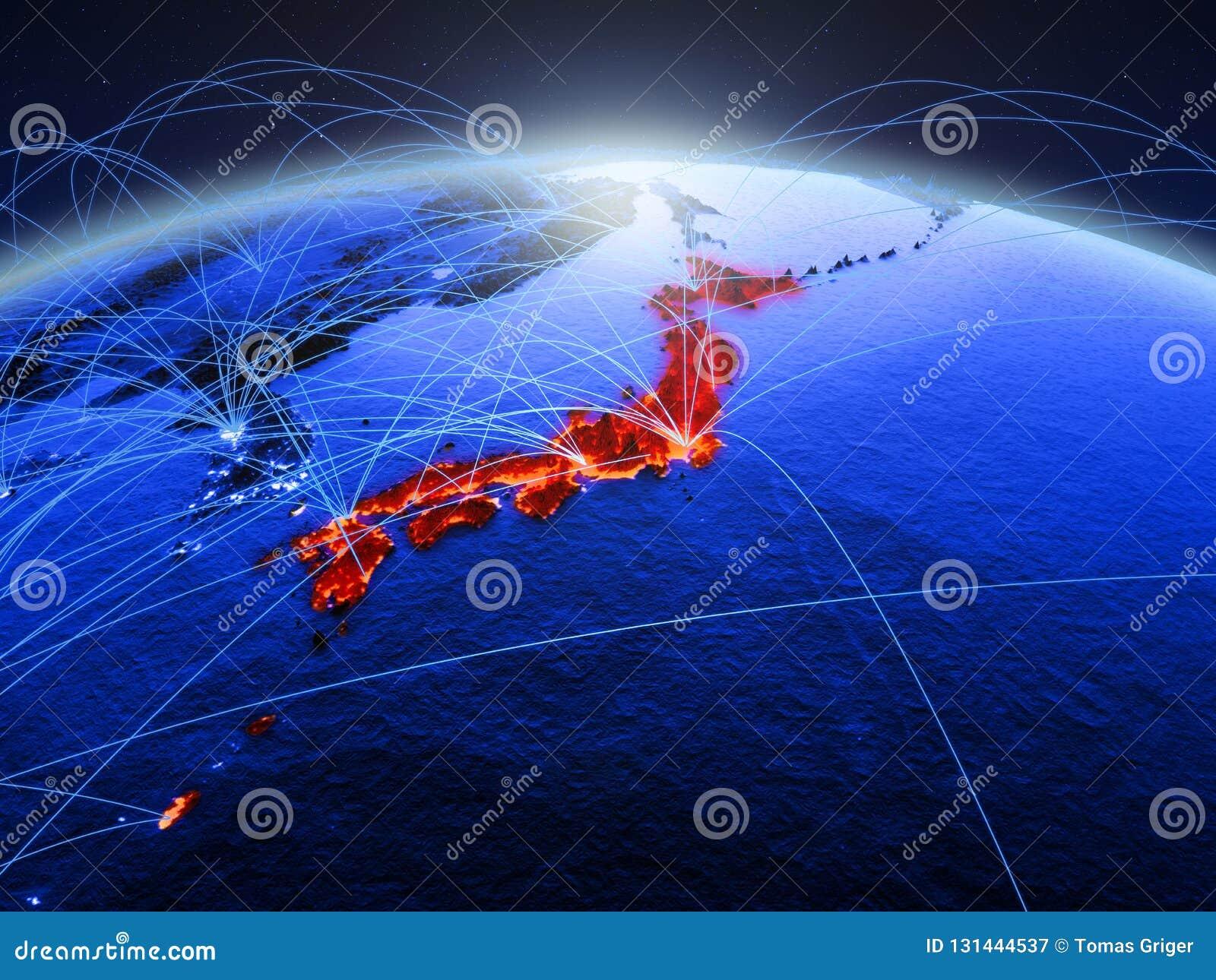 Ιαπωνία στον μπλε ψηφιακό πλανήτη Γη με το διεθνές δίκτυο που αντιπροσωπεύει την επικοινωνία, το ταξίδι και τις συνδέσεις τρισδιά