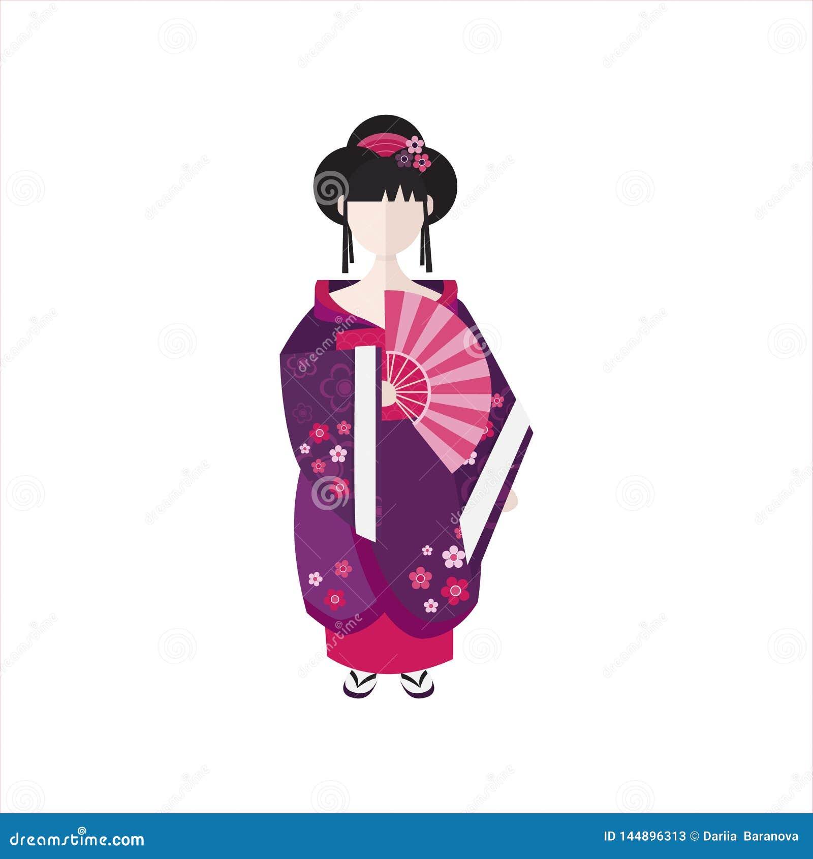 Ιαπωνικά γκέισα στην επίπεδη διανυσματική απεικόνιση κιμονό