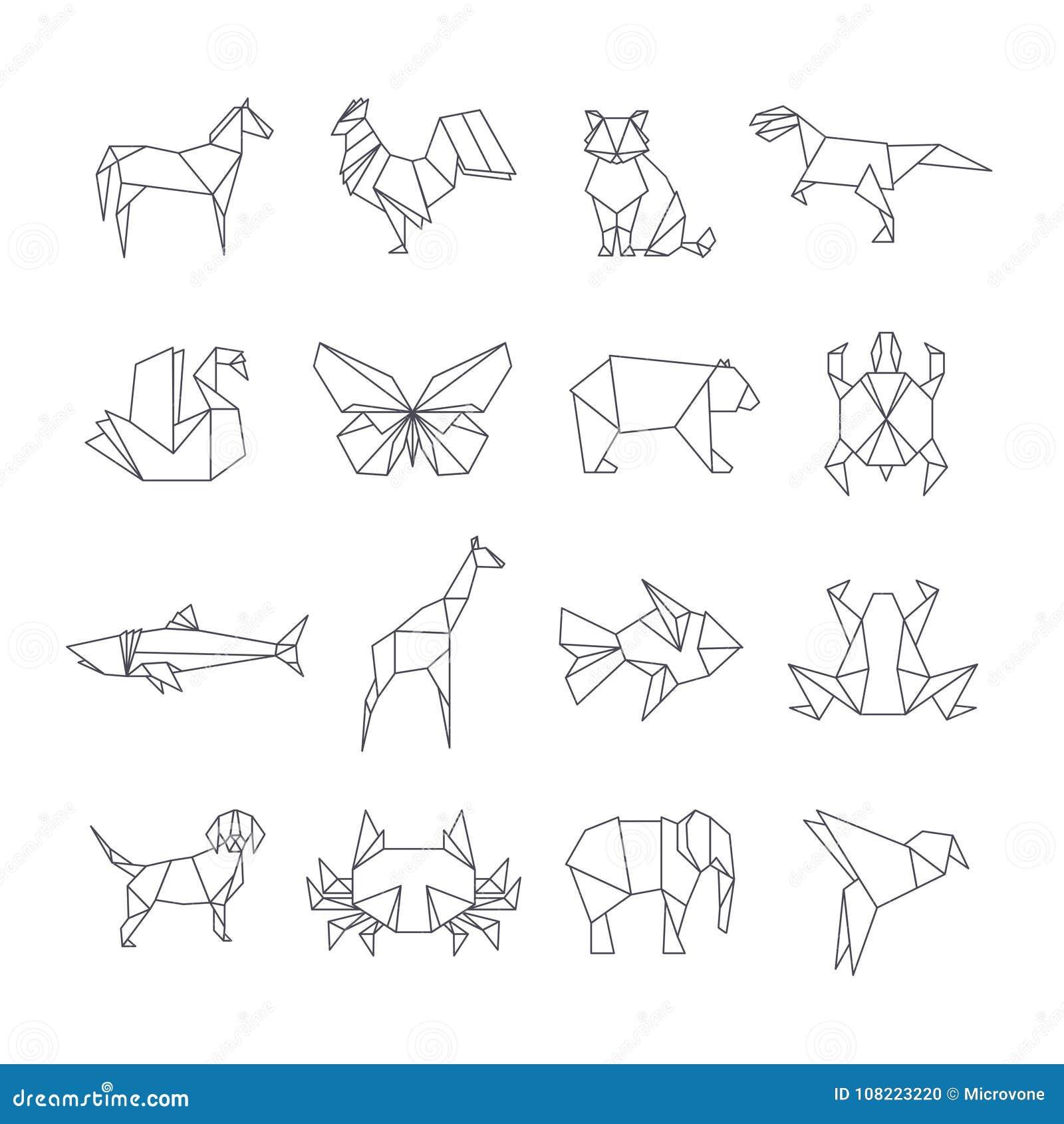 Ιαπωνικά origami εγγράφου εικονίδια γραμμών ζώων διανυσματικά