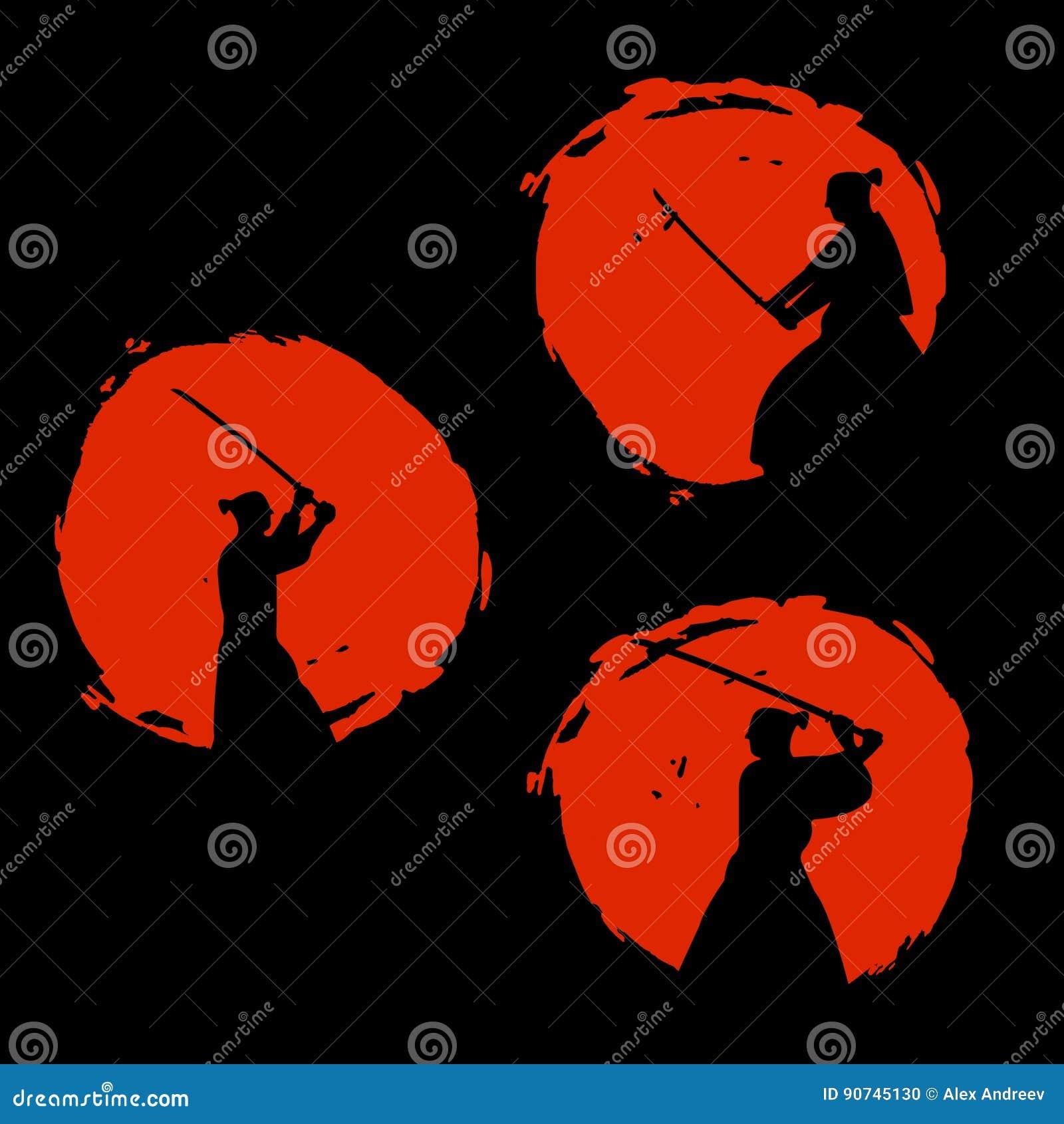 Ιαπωνική σκιαγραφία πολεμιστών Σαμουράι επίσης corel σύρετε το διάνυσμα απεικόνισης