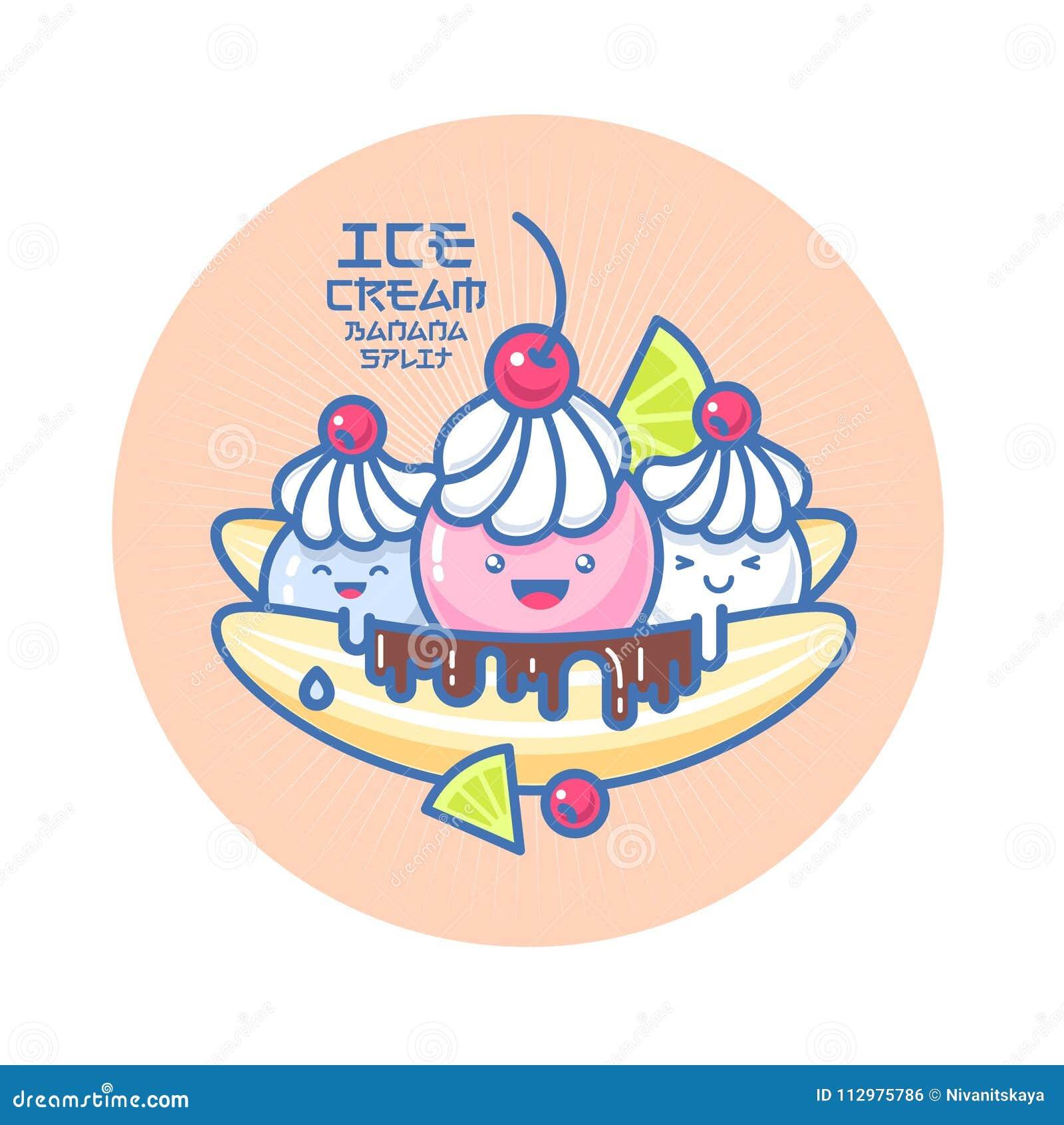 Ιαπωνική χαμογελασμένη ύφος απεικόνιση παγωτού Ζωηρόχρωμο παγωτό σε μια μπανάνα