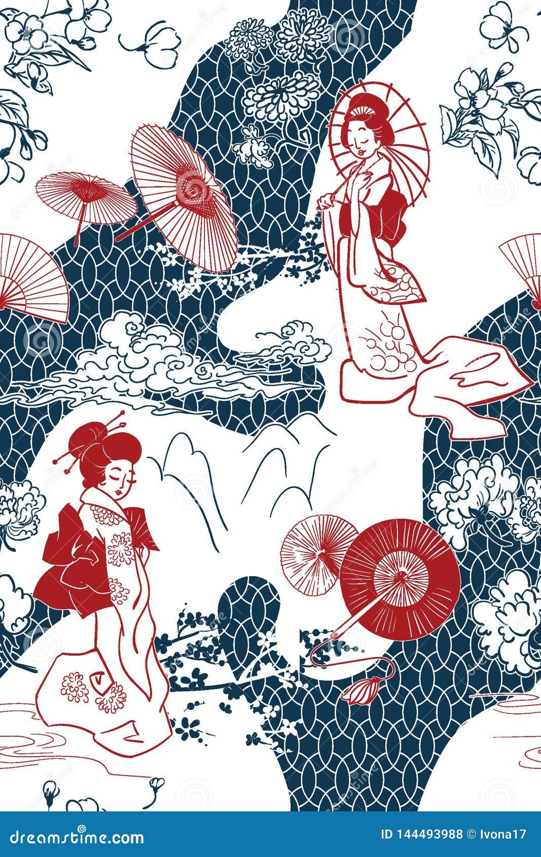 Ιαπωνικό παραδοσιακό διανυσματικό σχέδιο σκηνικού απεικόνισης oruental