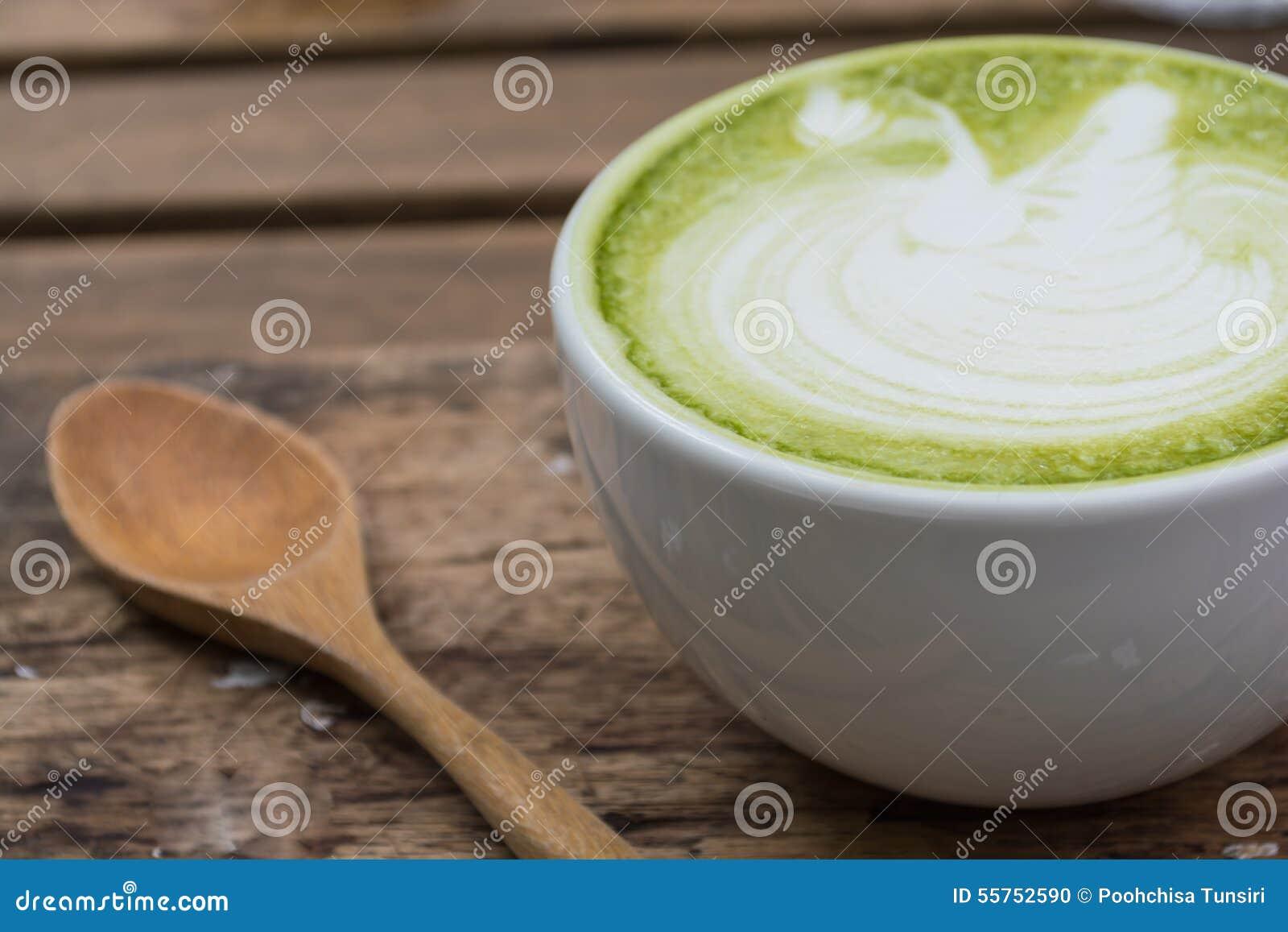 Ιαπωνικό ποτό, φλυτζάνι Latte του πράσινου τσαγιού
