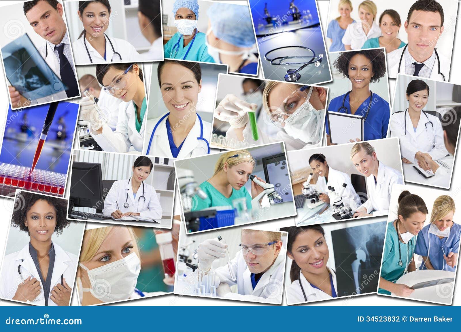 Ιατρική έρευνα & νοσοκομείο νοσοκόμων γιατρών Montage