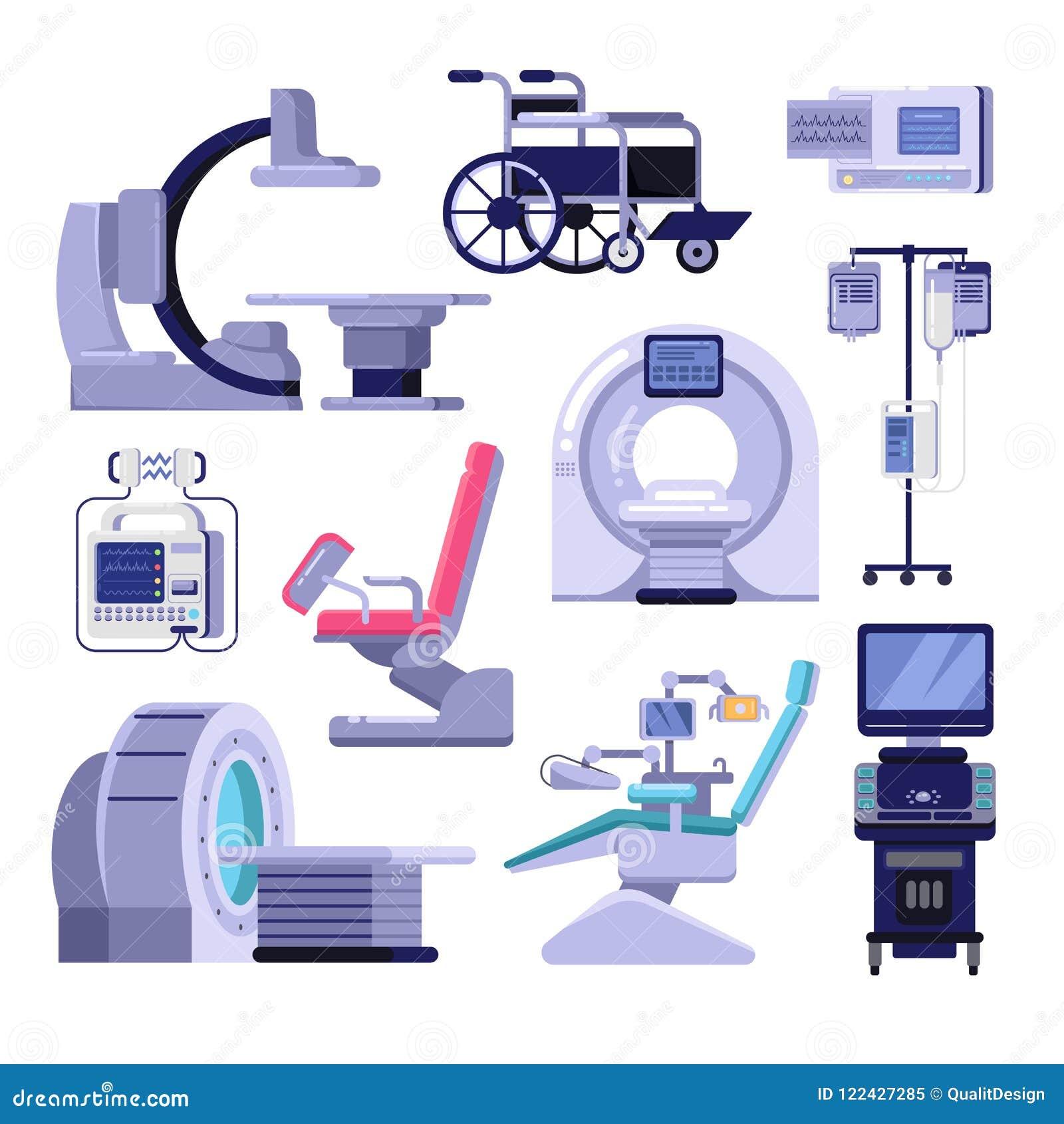 Ιατρικός διαγνωστικός εξοπλισμός εξέτασης Διανυσματική απεικόνιση της καρέκλας MRI, γυναικολογίας και οδοντιάτρων, μηχανή υπερήχο