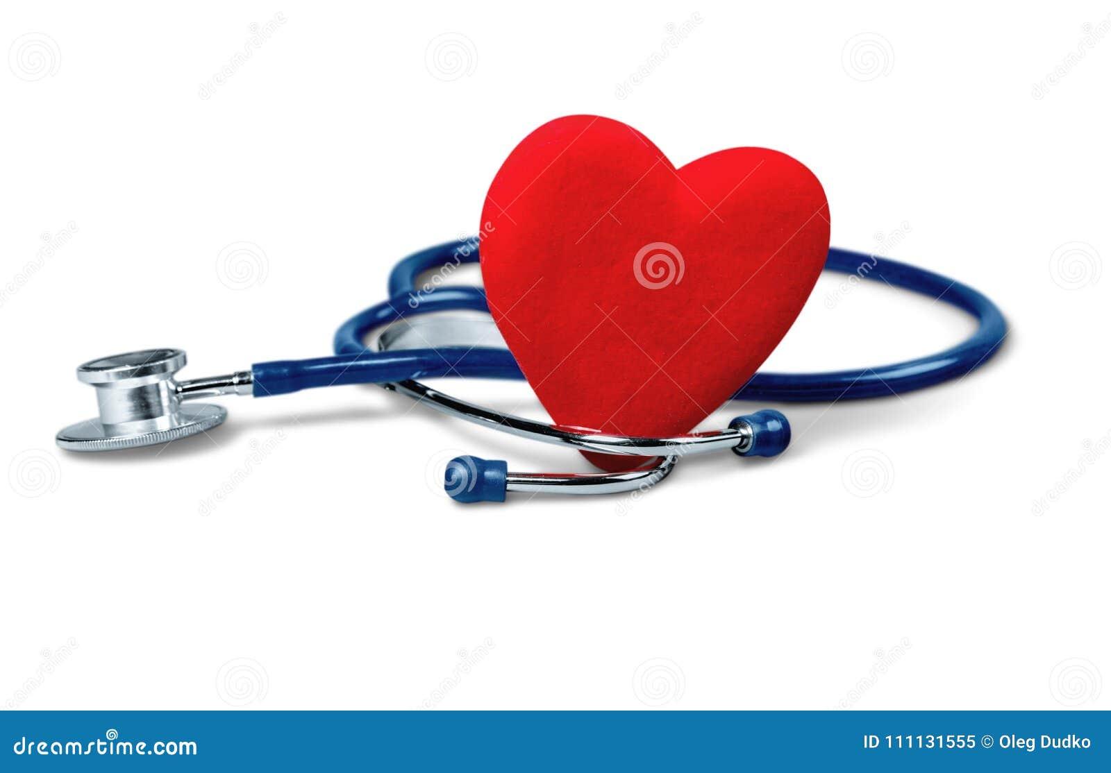 Ιατρικό στηθοσκόπιο την καρδιά που απομονώνεται με στο λευκό